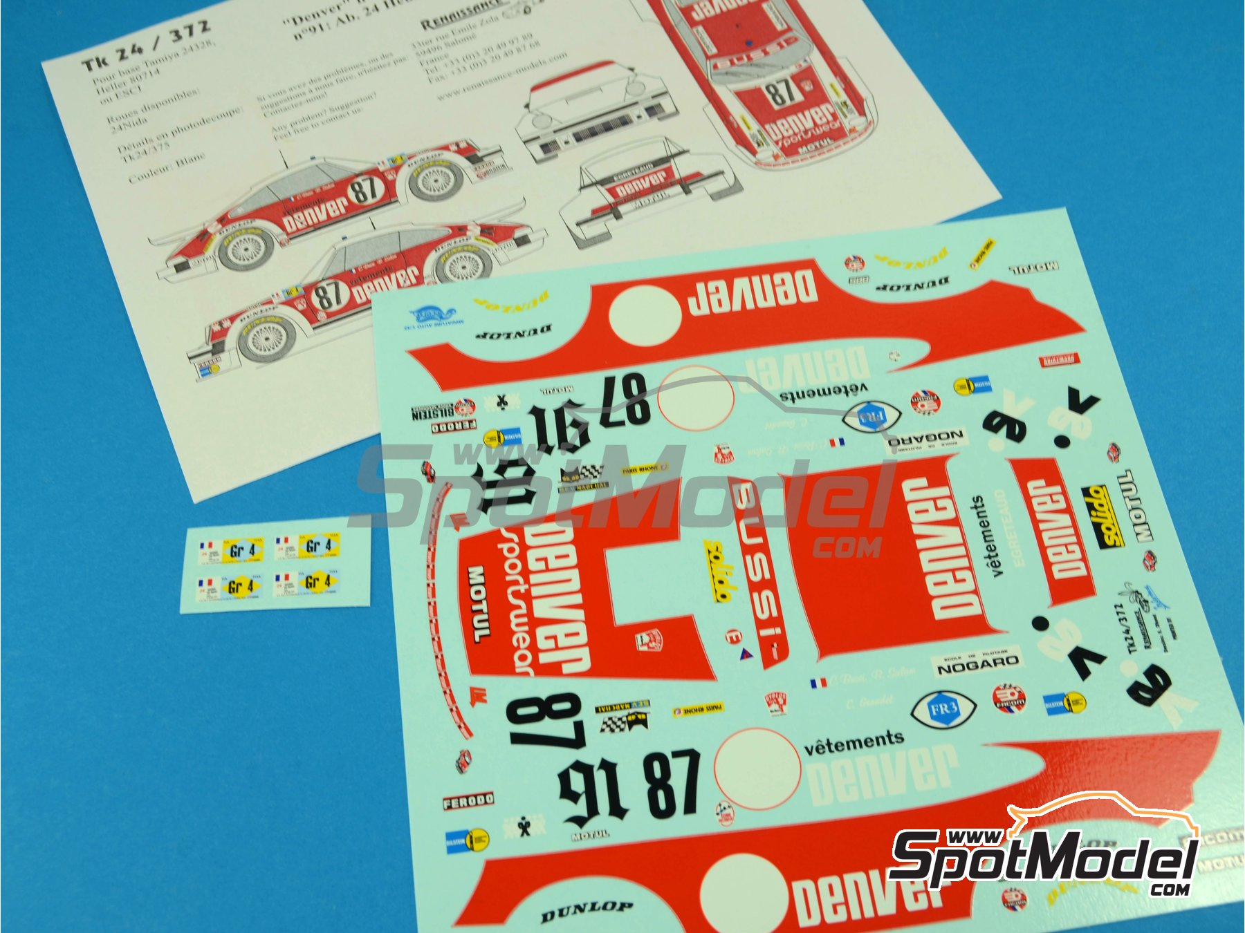 Image 7: Porsche 934 Turbo RSR Group 4 Denver - 24 Hours Le Mans 1979 and 1980 | Marking / livery in 1/24 scale manufactured by Renaissance Models (ref.TK24-372)