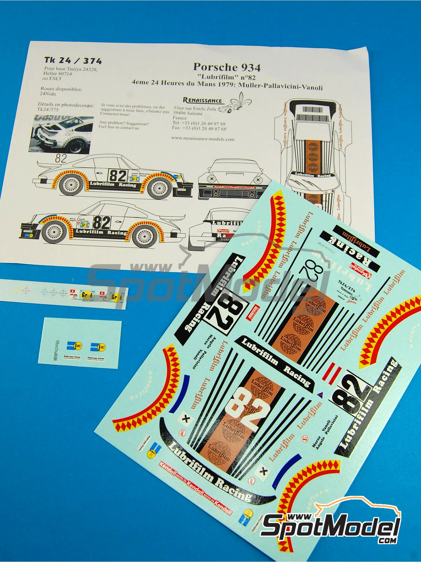 Porsche 934 Turbo RSR Group 4 Lubrifilm - 24 Hours Le Mans 1979 | Marking / livery in 1/24 scale manufactured by Renaissance Models (ref.TK24-374) image