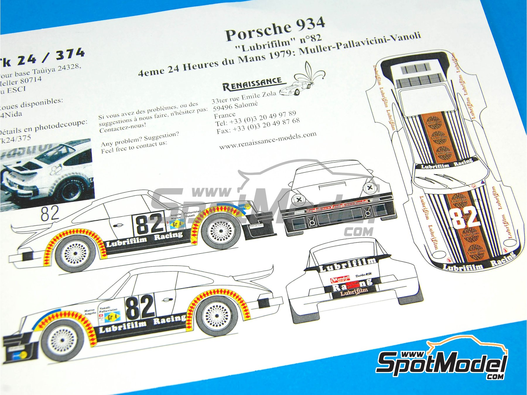 Image 6: Porsche 934 Turbo RSR Group 4 Lubrifilm - 24 Hours Le Mans 1979 | Marking / livery in 1/24 scale manufactured by Renaissance Models (ref.TK24-374)