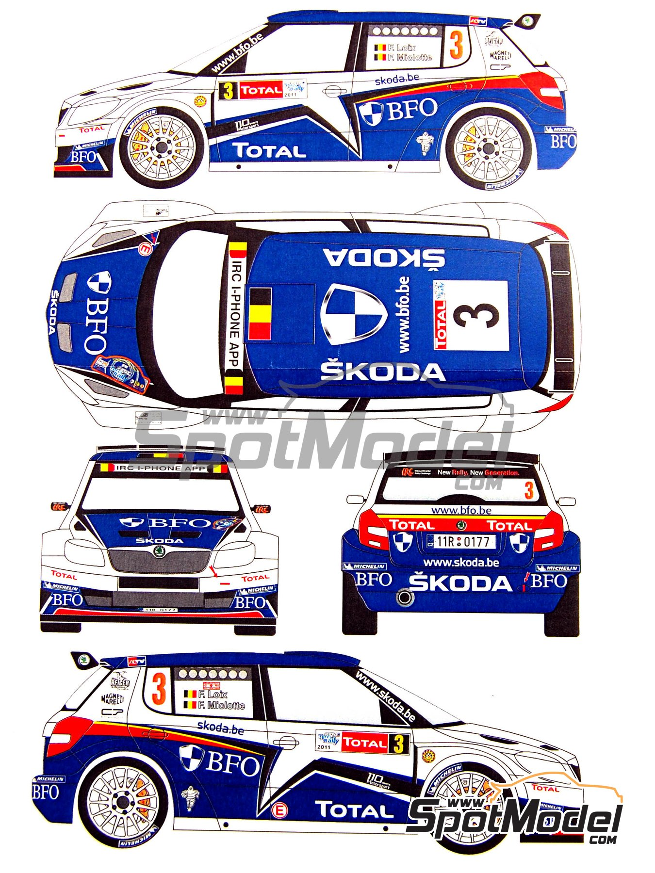 Skoda Fabia S2000 Evo BFO - Ypres Rally 2011 | Marking / livery in 1/24 scale manufactured by Renaissance Models (ref. TK24-380) image