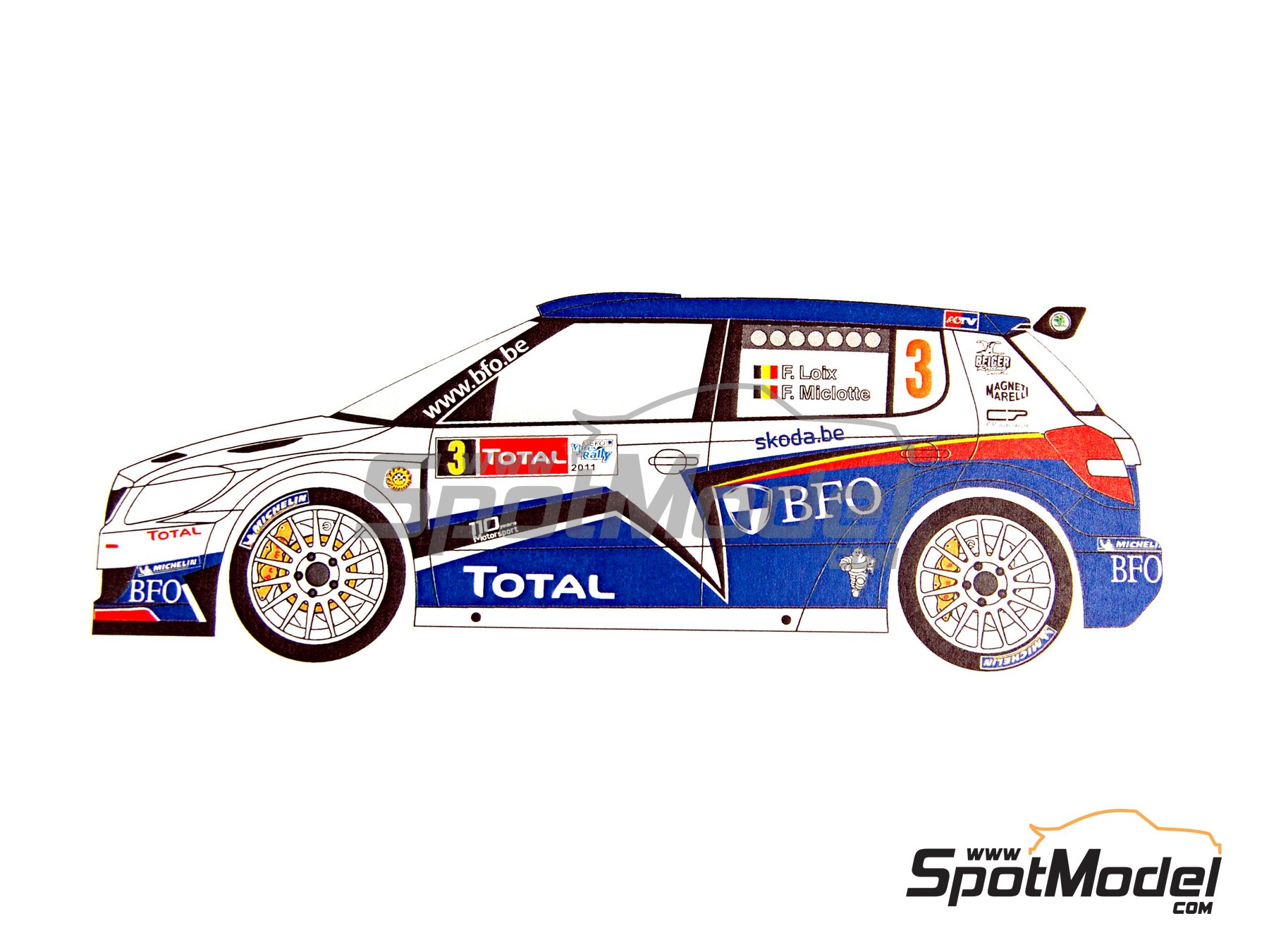 Image 8: Skoda Fabia S2000 Evo BFO - Ypres Rally 2011 | Marking / livery in 1/24 scale manufactured by Renaissance Models (ref. TK24-380)
