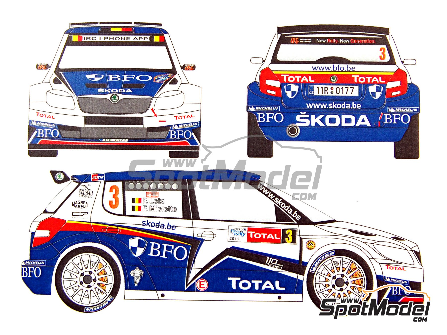 Image 9: Skoda Fabia S2000 Evo BFO - Ypres Rally 2011 | Marking / livery in 1/24 scale manufactured by Renaissance Models (ref. TK24-380)
