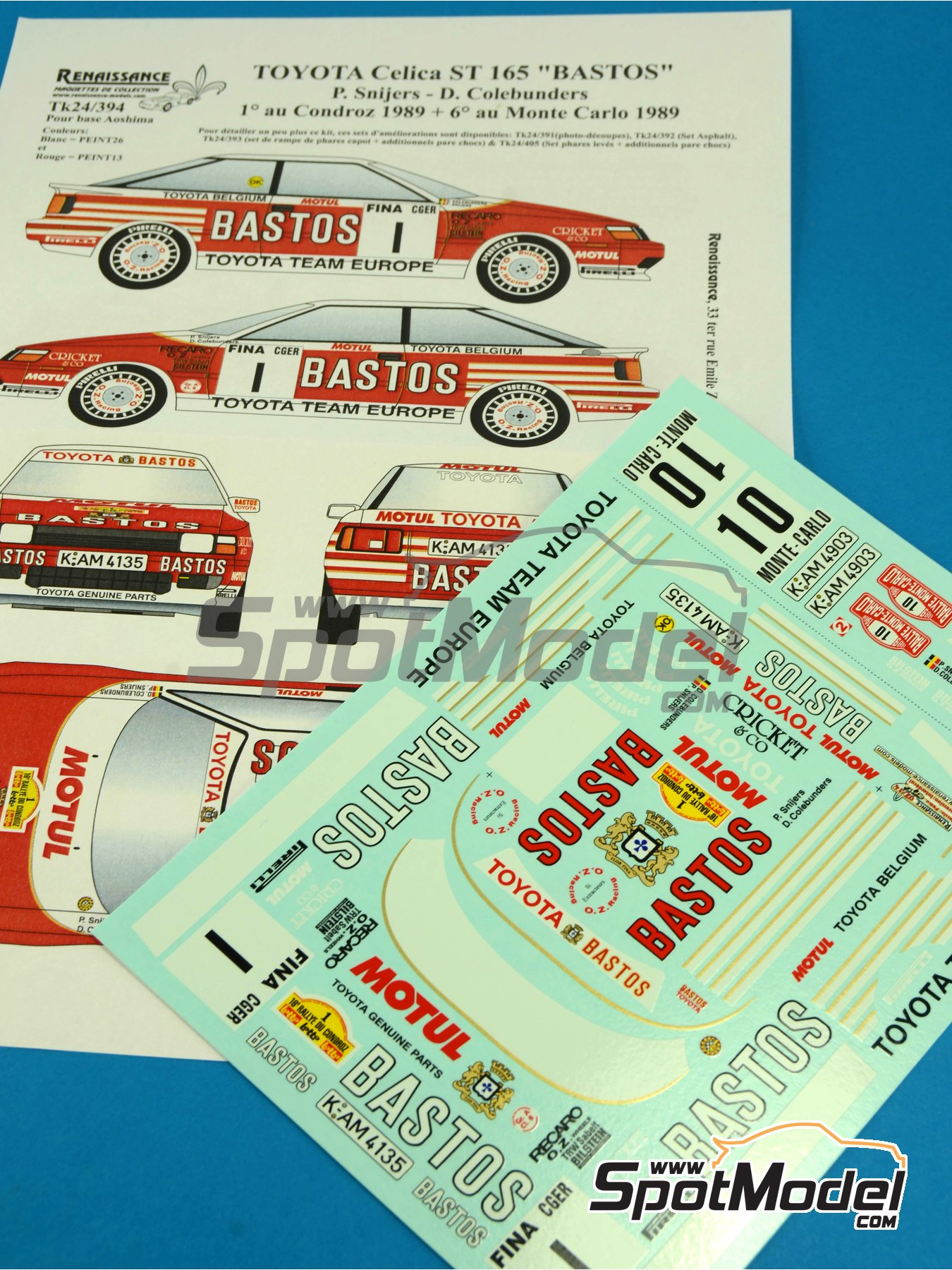 Toyota Celica GT Four ST165 Group A Bastos - Condroz Rally, Montecarlo Rally - Rallye Automobile de Monte-Carlo 1989 | Decals in 1/24 scale manufactured by Renaissance Models (ref.TK24-394) image