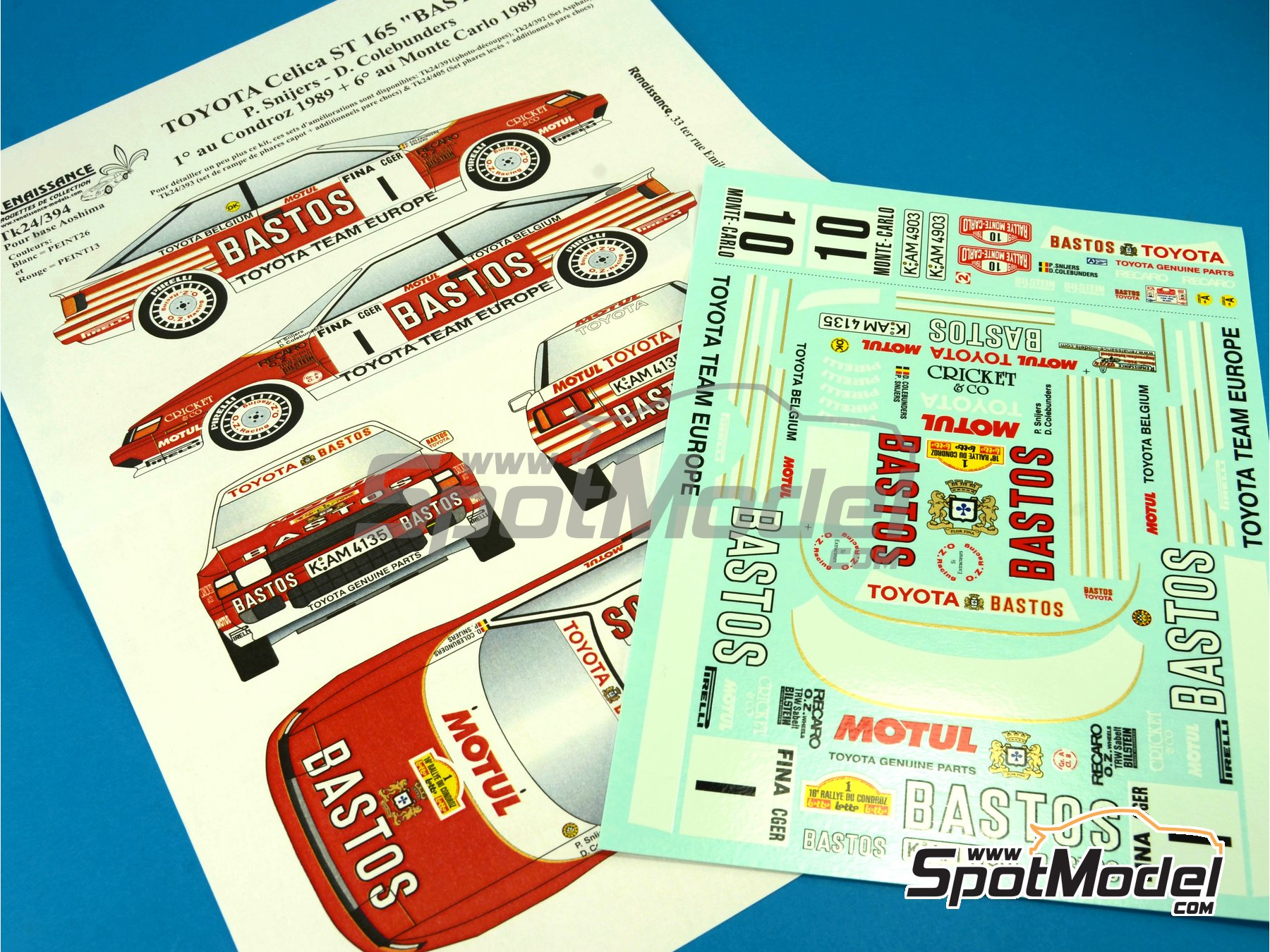 Image 1: Toyota Celica GT Four ST165 Group A Bastos - Condroz Rally, Montecarlo Rally - Rallye Automobile de Monte-Carlo 1989 | Decals in 1/24 scale manufactured by Renaissance Models (ref.TK24-394)