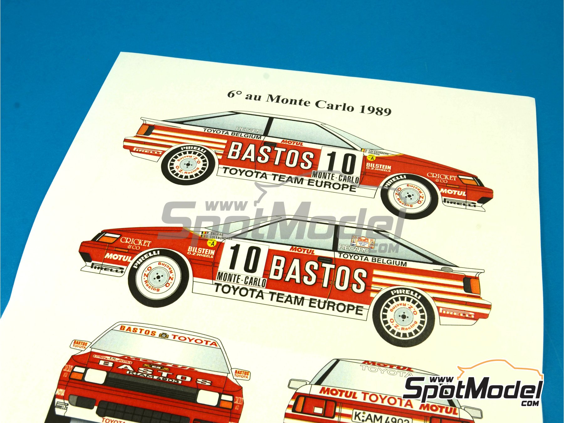 Image 7: Toyota Celica GT Four ST165 Group A Bastos - Condroz Rally, Montecarlo Rally - Rallye Automobile de Monte-Carlo 1989 | Decals in 1/24 scale manufactured by Renaissance Models (ref.TK24-394)