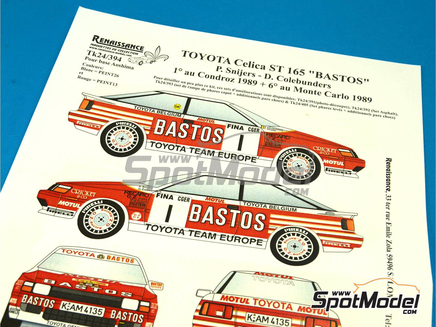 Image 8: Toyota Celica GT Four ST165 Group A Bastos - Condroz Rally, Montecarlo Rally - Rallye Automobile de Monte-Carlo 1989 | Decals in 1/24 scale manufactured by Renaissance Models (ref.TK24-394)