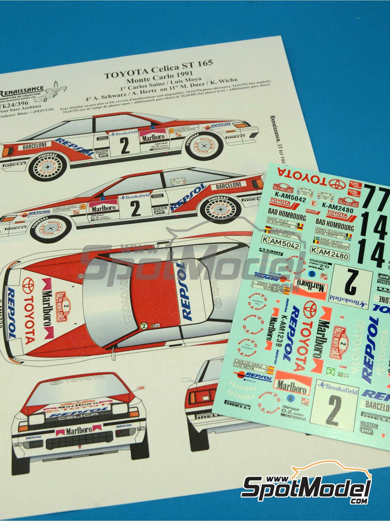 Toyota Celica GT Four ST165 Group A Marlboro - Rally de Montecarlo - Rallye Automobile de Monte-Carlo 1991 | Calcas de agua en escala1/24 fabricado por Renaissance Models (ref.TK24-396) image