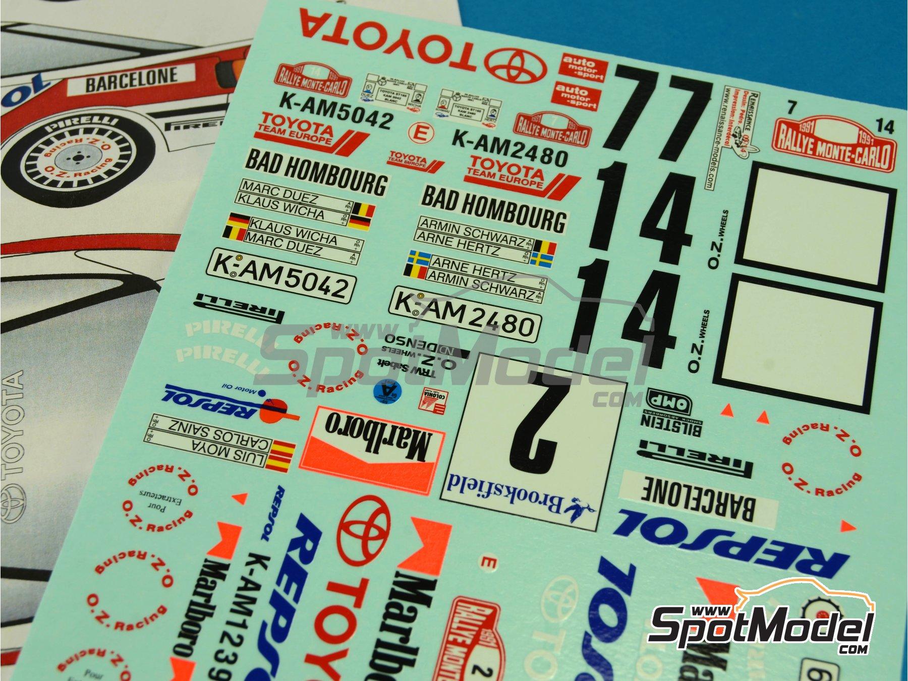 Image 2: Toyota Celica GT Four ST165 Group A Marlboro - Rally de Montecarlo - Rallye Automobile de Monte-Carlo 1991 | Calcas de agua en escala1/24 fabricado por Renaissance Models (ref.TK24-396)