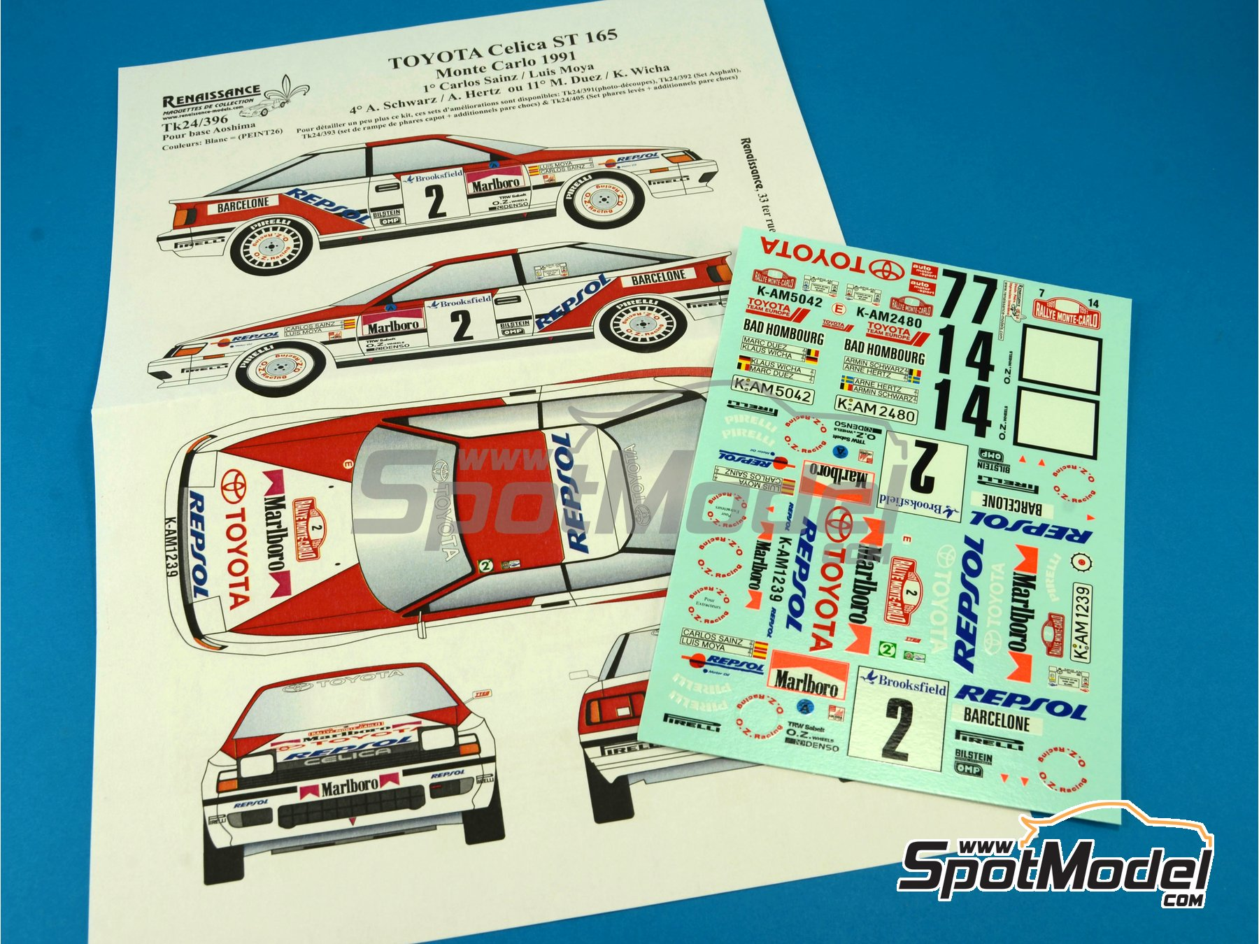 Image 6: Toyota Celica GT Four ST165 Group A Marlboro - Rally de Montecarlo - Rallye Automobile de Monte-Carlo 1991 | Calcas de agua en escala1/24 fabricado por Renaissance Models (ref.TK24-396)