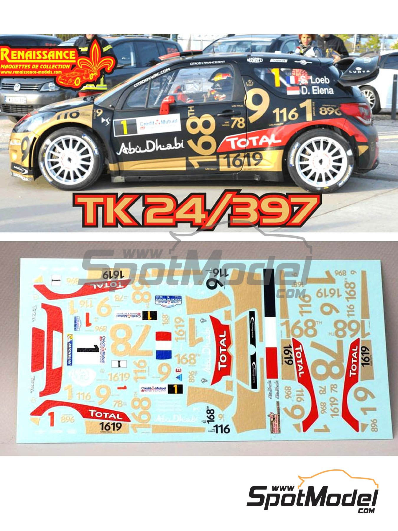 Citroen DS3 WRC Abu Dhabi - Alsace - Vosges Rally 2013 | Marking / livery in 1/24 scale manufactured by Renaissance Models (ref. TK24-397) image