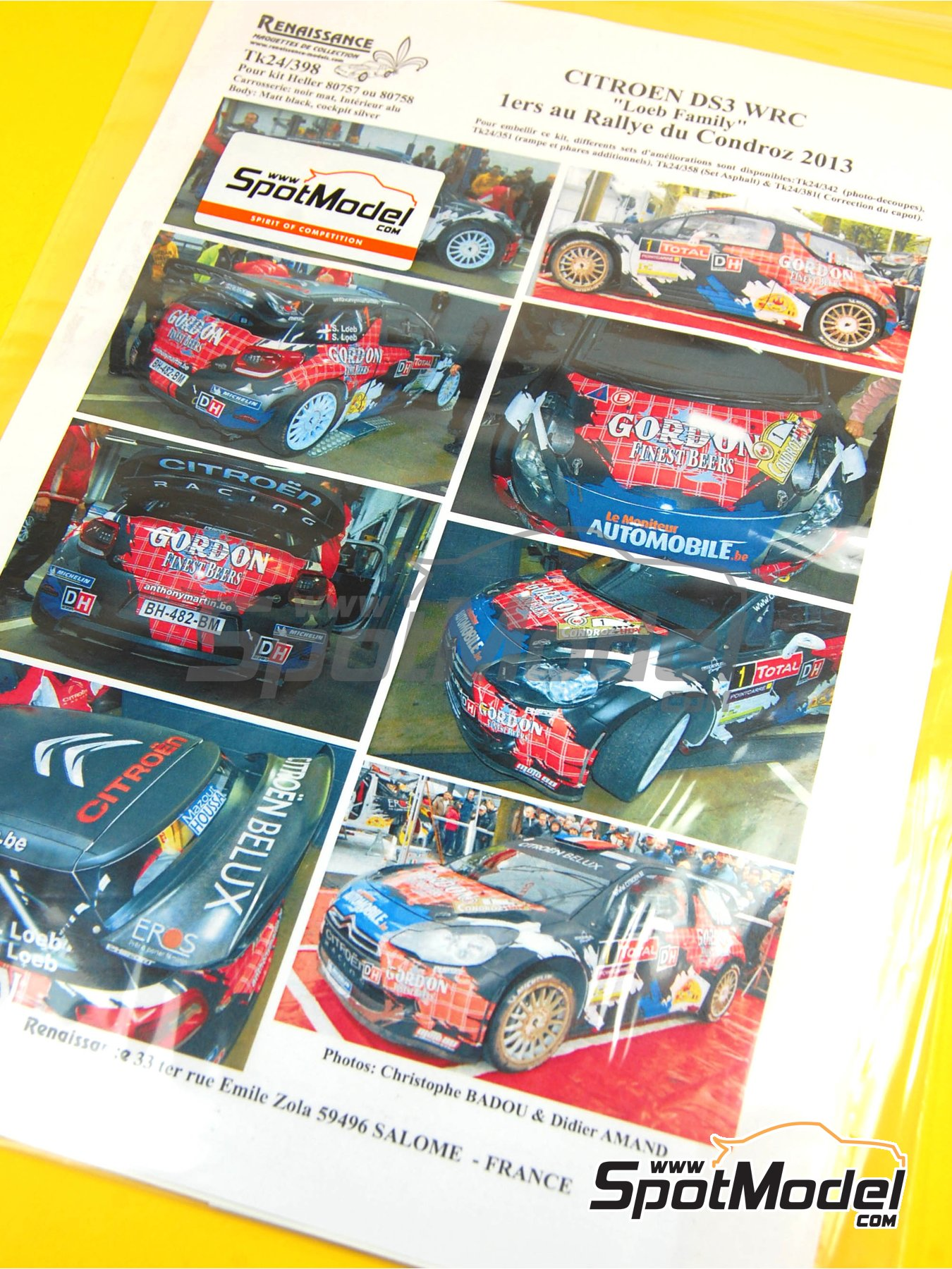 Citroen DS3 WRC Gordon Finest Beers - Condroz Rally 2013 | Decals in 1/24 scale manufactured by Renaissance Models (ref.TK24-398) image