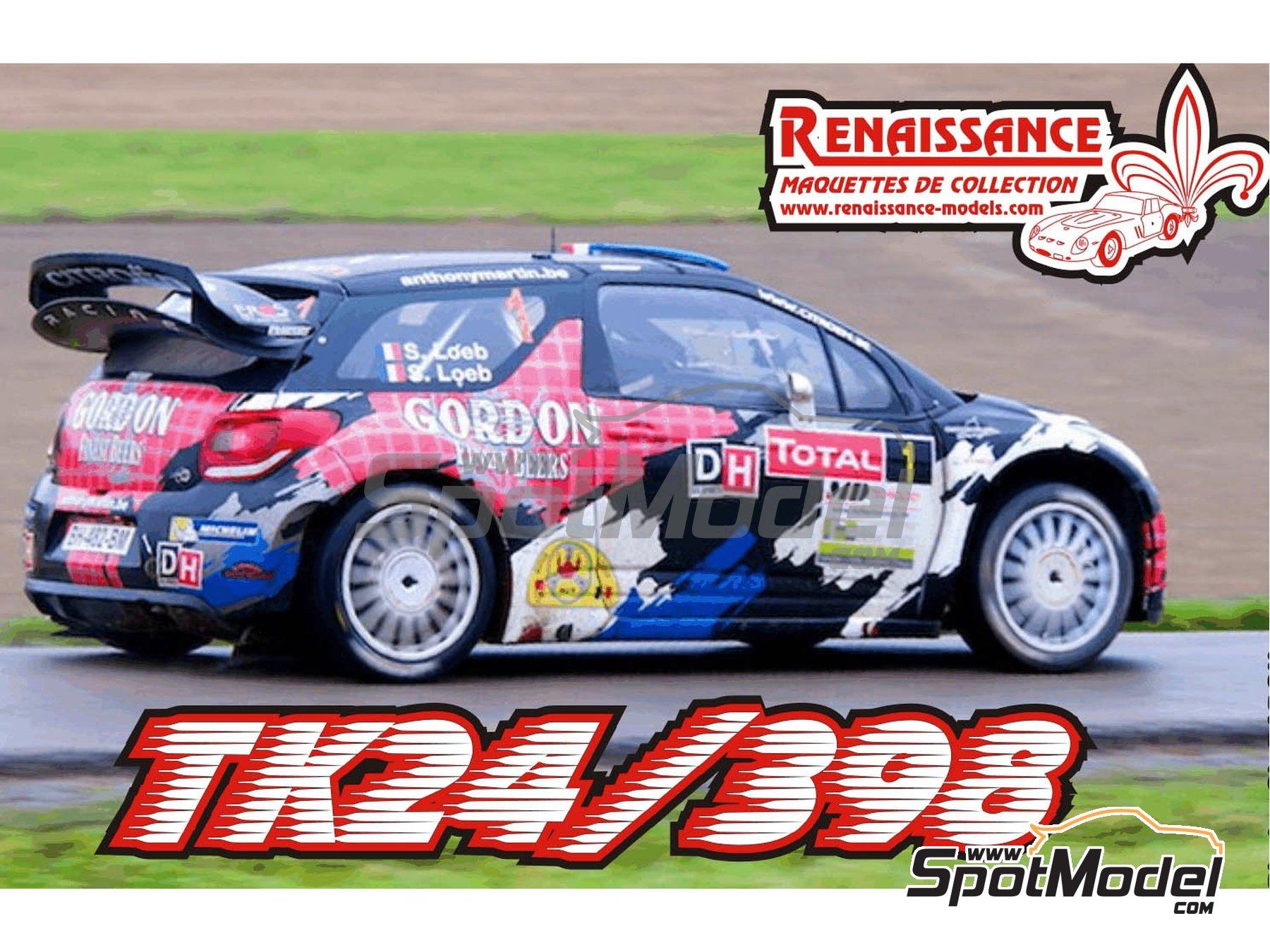 Image 1: Citroen DS3 WRC Gordon Finest Beers - Rally Condroz de Bélgica 2013 | Calcas de agua en escala1/24 fabricado por Renaissance Models (ref.TK24-398)