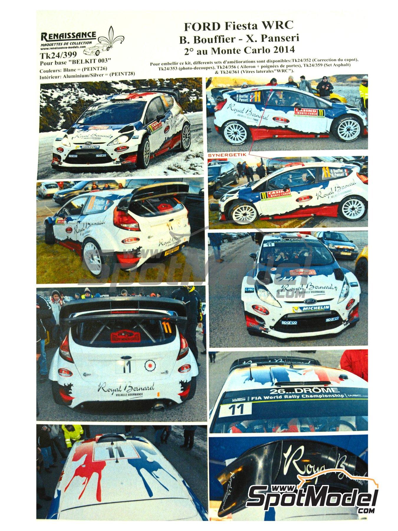 Ford Fiesta WRC Royal Bernard - Rally de Montecarlo 2014 | Calcas de agua en escala1/24 fabricado por Renaissance Models (ref.TK24-399) image