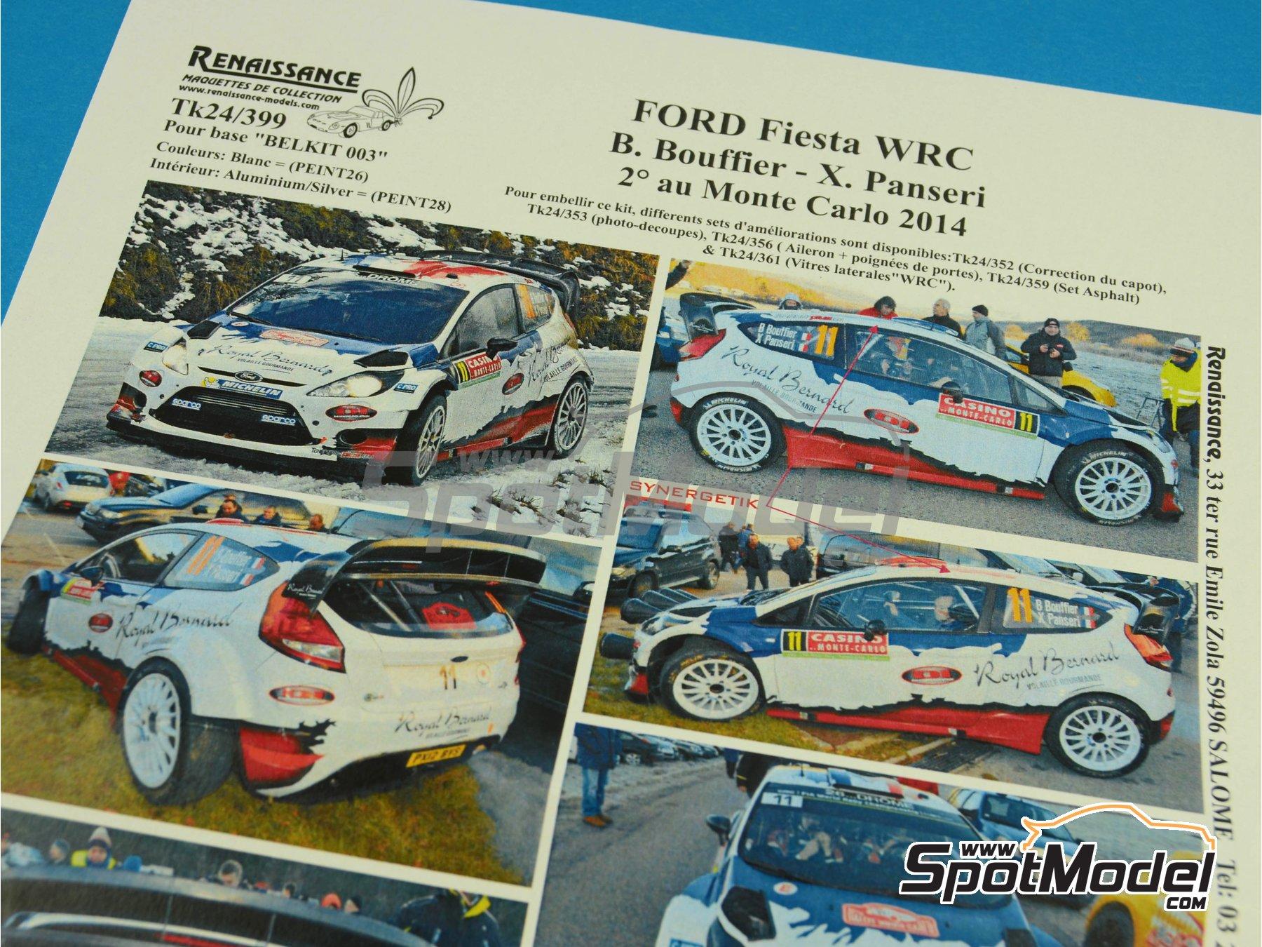 Image 6: Ford Fiesta WRC Royal Bernard - Rally de Montecarlo 2014 | Calcas de agua en escala1/24 fabricado por Renaissance Models (ref.TK24-399)