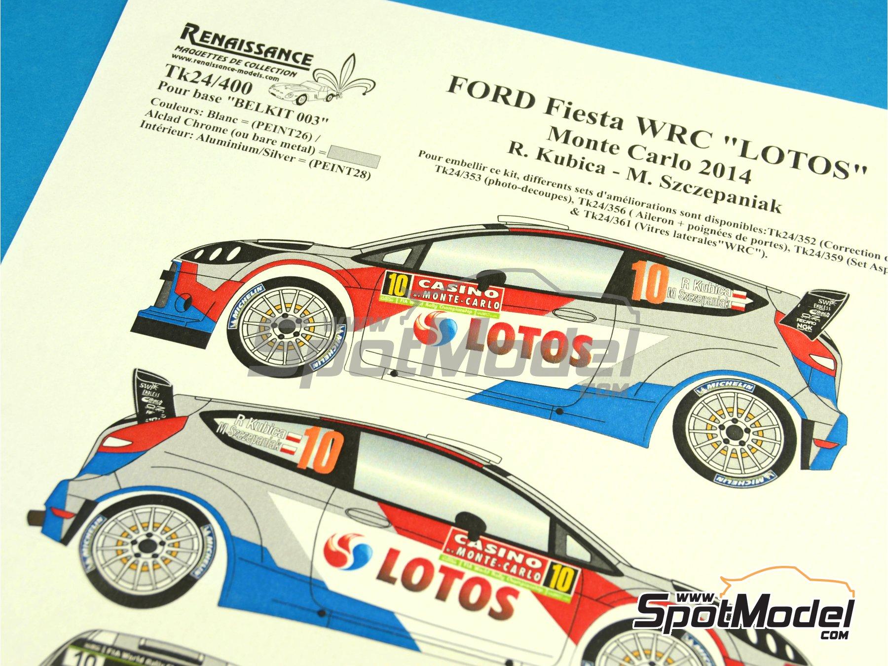 Image 1: Ford Fiesta WRC Lotos - Rally de Montecarlo 2014 | Calcas de agua en escala1/24 fabricado por Renaissance Models (ref.TK24-400)
