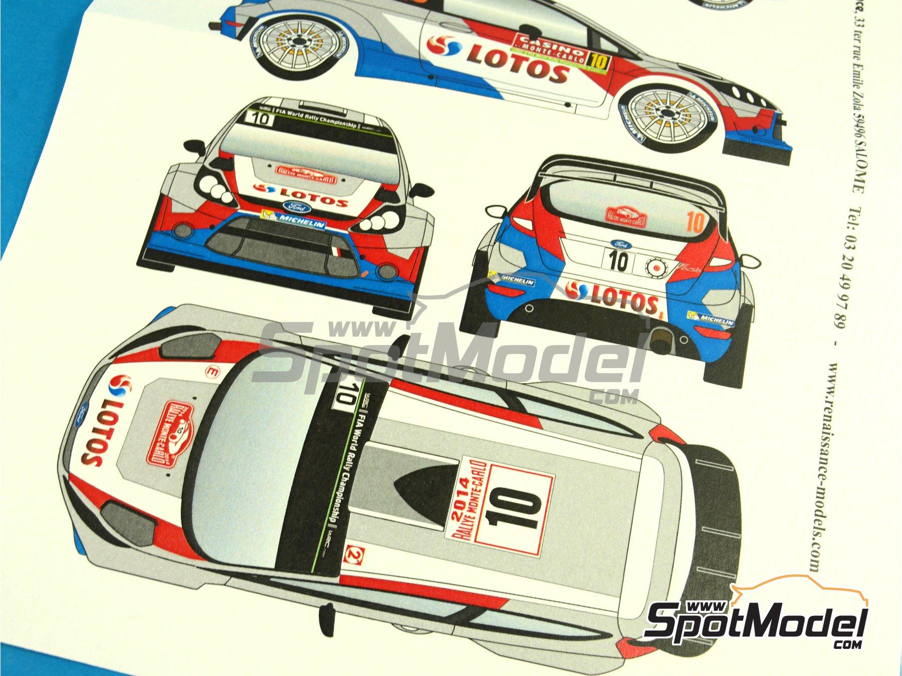 Image 2: Ford Fiesta WRC Lotos - Rally de Montecarlo 2014 | Calcas de agua en escala1/24 fabricado por Renaissance Models (ref.TK24-400)