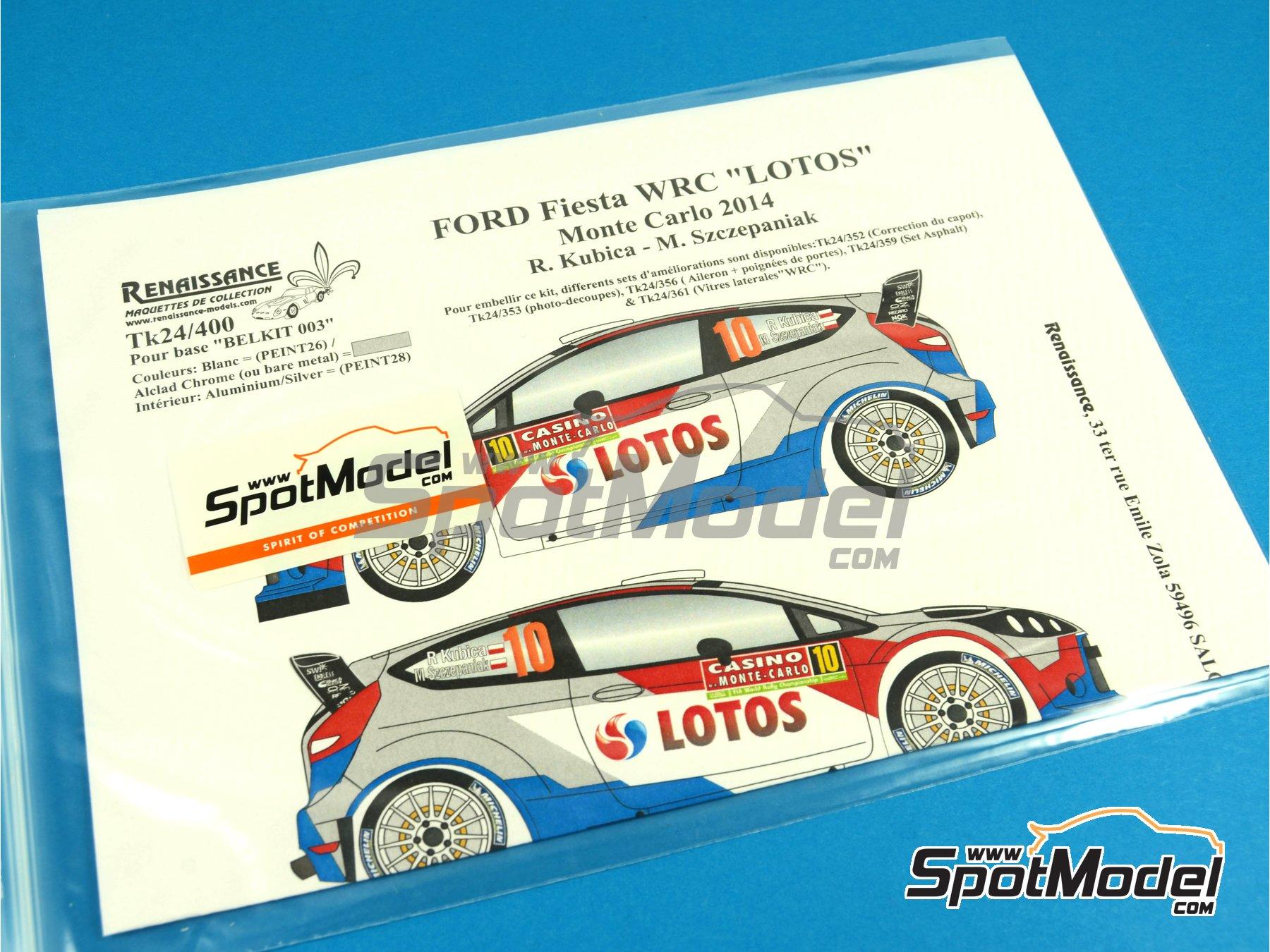 Image 8: Ford Fiesta WRC Lotos - Rally de Montecarlo 2014 | Calcas de agua en escala1/24 fabricado por Renaissance Models (ref.TK24-400)