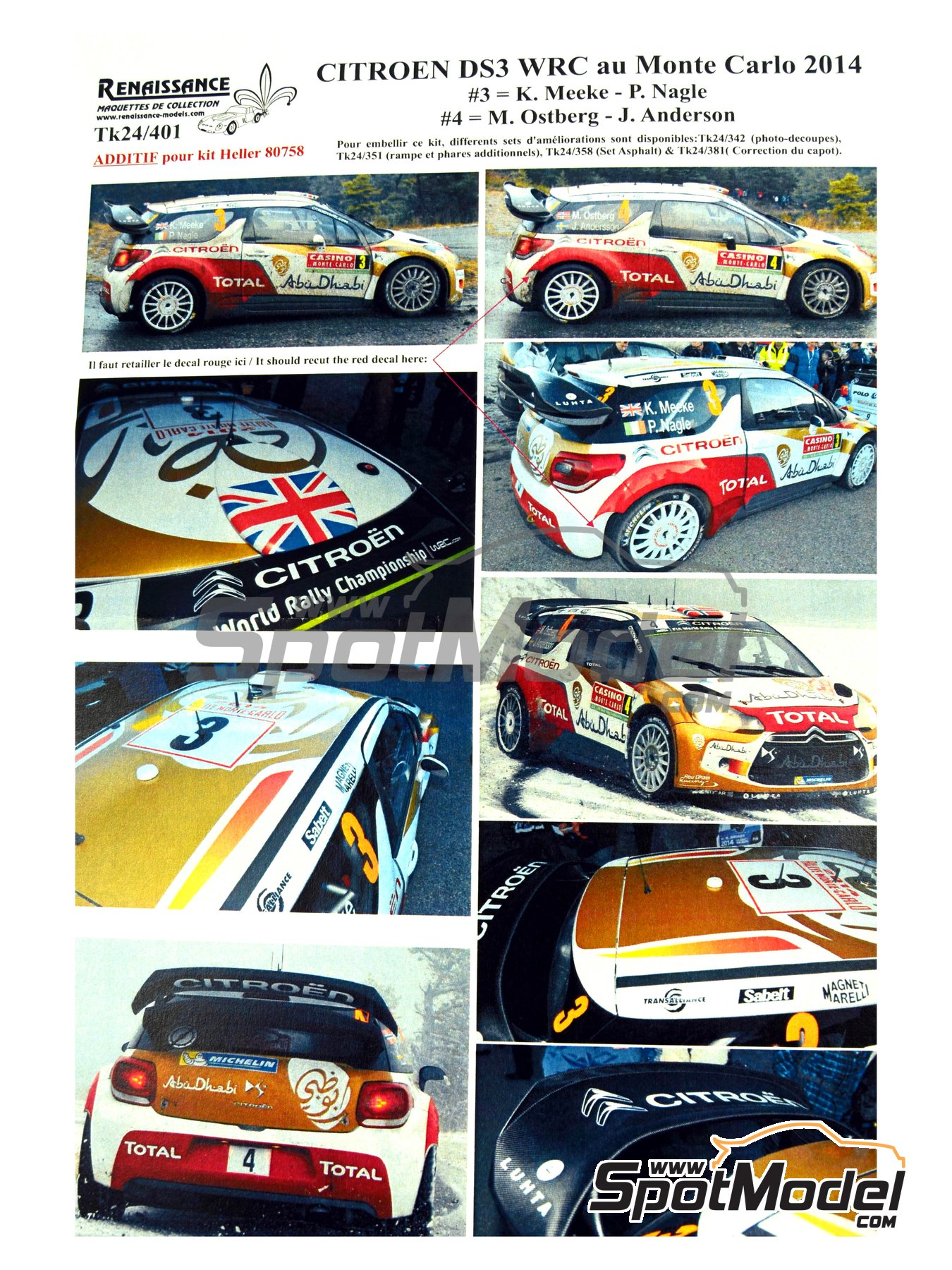 Citroen DS3 WRC Abu Dhabi - Montecarlo Rally - Rallye Automobile de Monte-Carlo 2014 | Marking / livery in 1/24 scale manufactured by Renaissance Models (ref.TK24-401) image