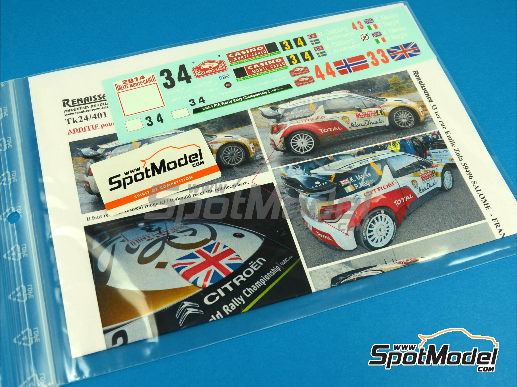 Image 1: Citroen DS3 WRC Abu Dhabi - Montecarlo Rally - Rallye Automobile de Monte-Carlo 2014 | Marking / livery in 1/24 scale manufactured by Renaissance Models (ref.TK24-401)