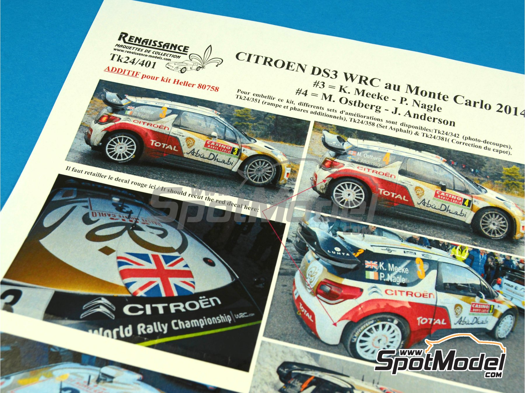 Image 5: Citroen DS3 WRC Abu Dhabi - Montecarlo Rally - Rallye Automobile de Monte-Carlo 2014 | Marking / livery in 1/24 scale manufactured by Renaissance Models (ref.TK24-401)