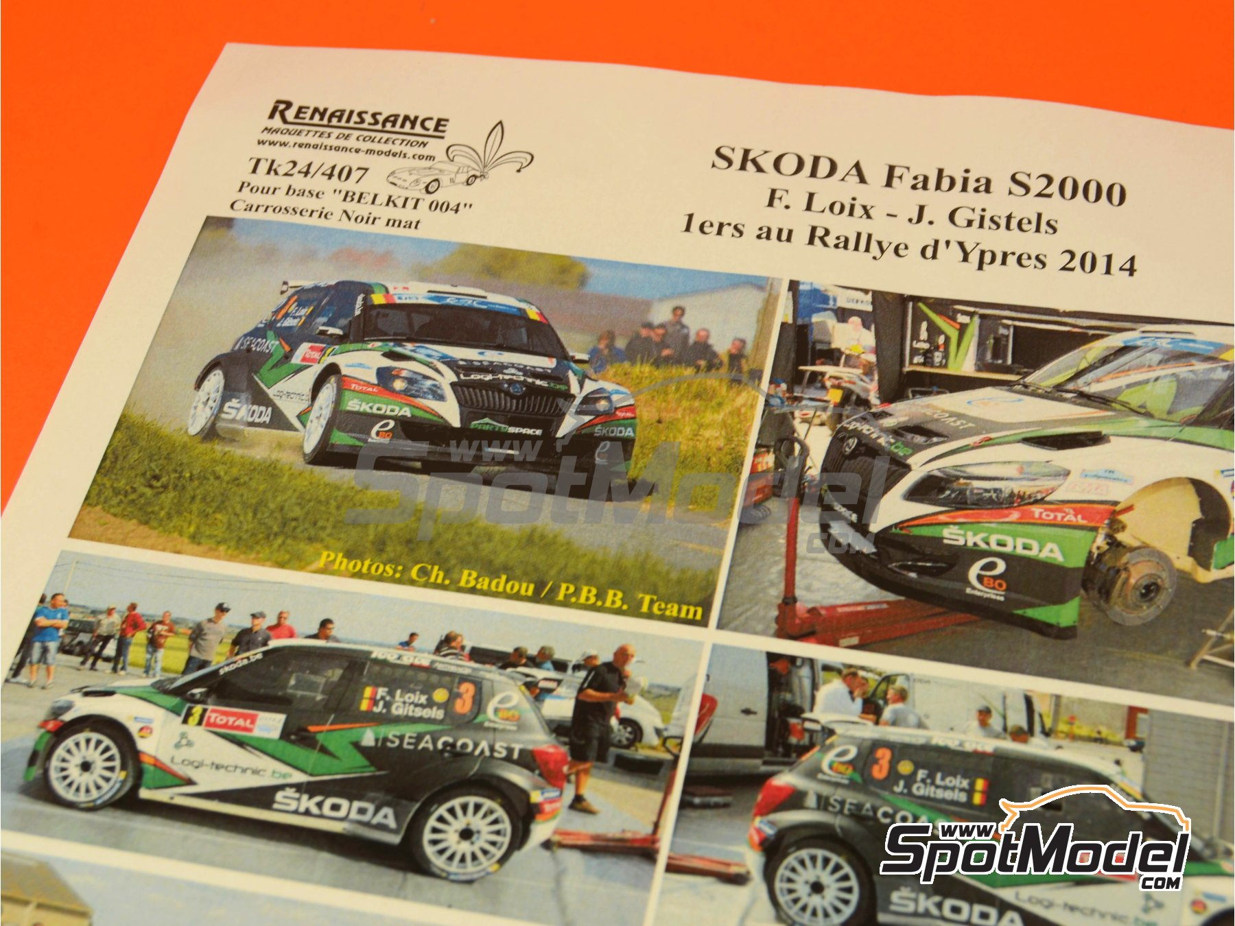 Image 1: Skoda Fabia S2000 Seacoast - Ypres Rally 2014   Marking / livery in 1/24 scale manufactured by Renaissance Models (ref.TK24-407)