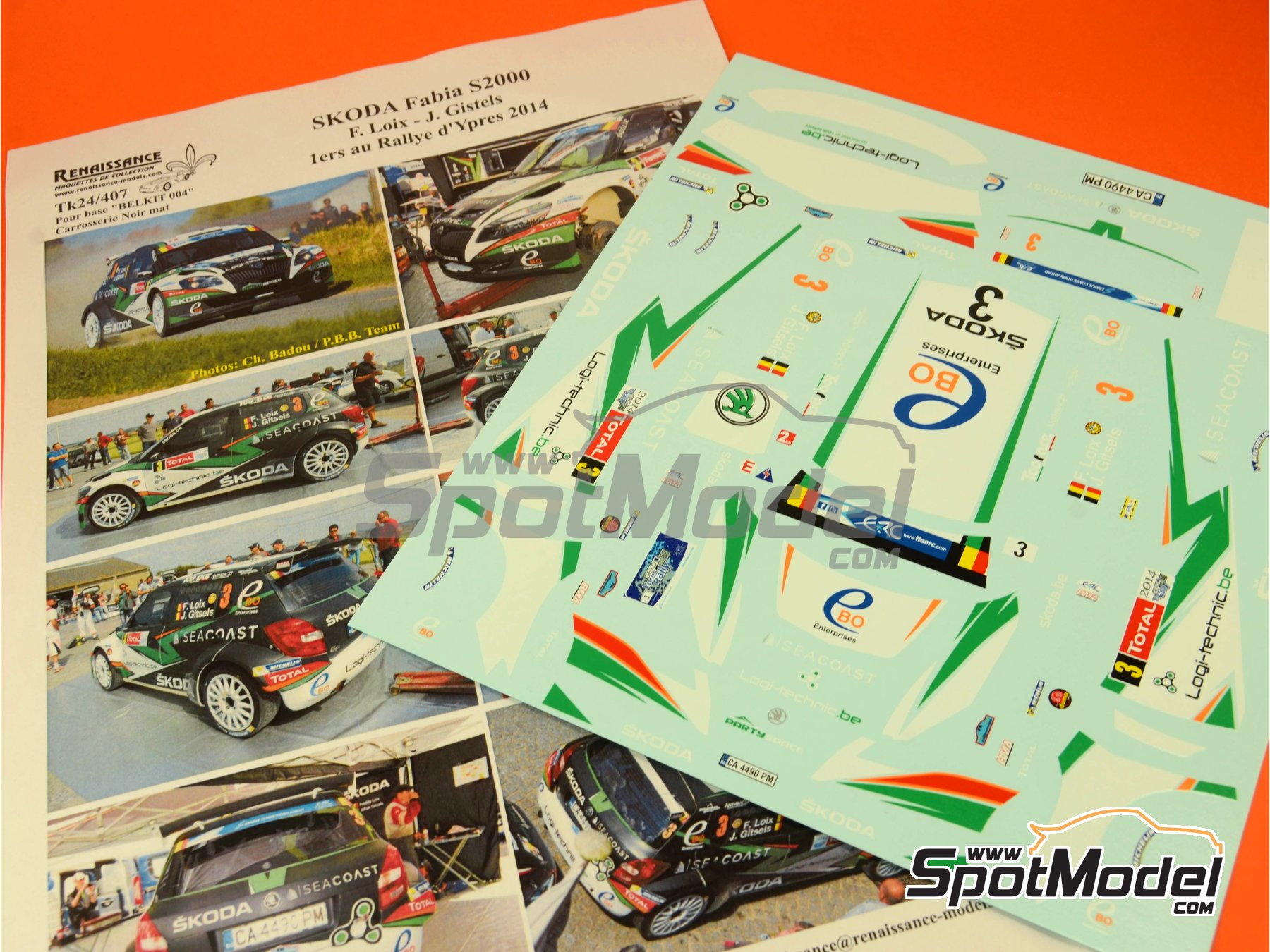 Image 8: Skoda Fabia S2000 Seacoast - Ypres Rally 2014   Marking / livery in 1/24 scale manufactured by Renaissance Models (ref.TK24-407)