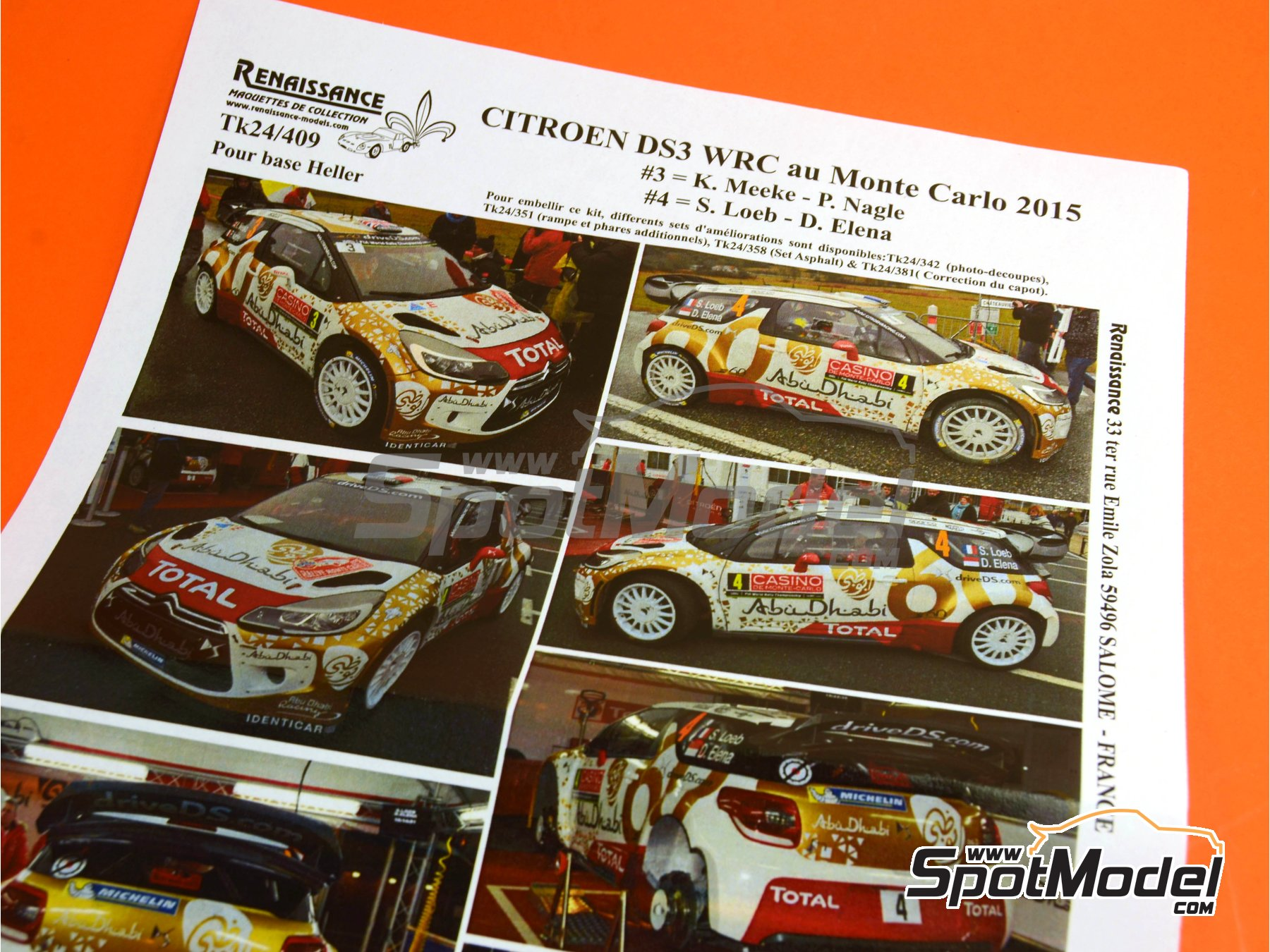 Image 1: Citroen DS3 WRC AbuDhabi - Montecarlo Rally - Rallye Automobile de Monte-Carlo 2015 | Marking / livery in 1/24 scale manufactured by Renaissance Models (ref. TK24-409)
