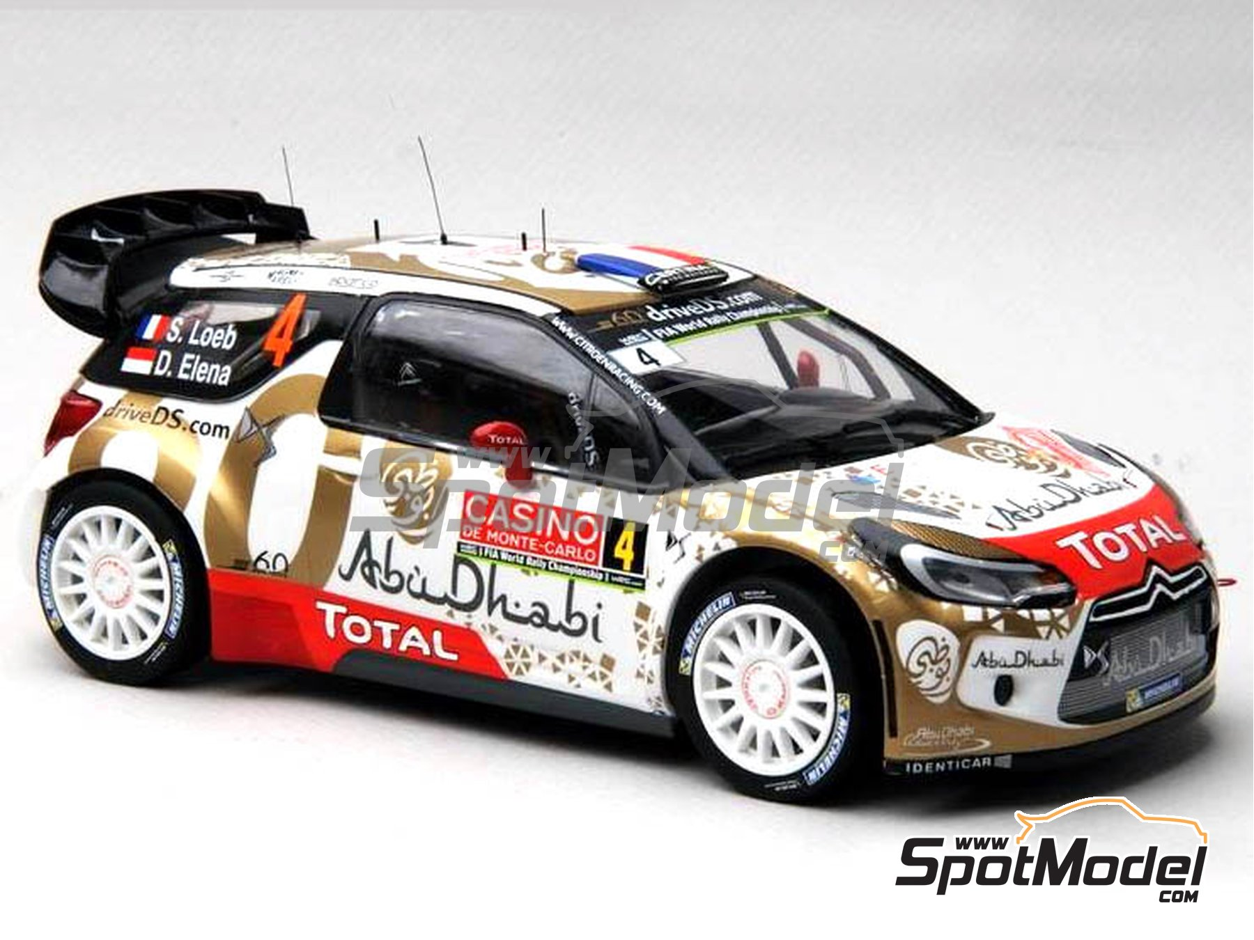 Image 12: Citroen DS3 WRC AbuDhabi - Montecarlo Rally - Rallye Automobile de Monte-Carlo 2015 | Marking / livery in 1/24 scale manufactured by Renaissance Models (ref. TK24-409)