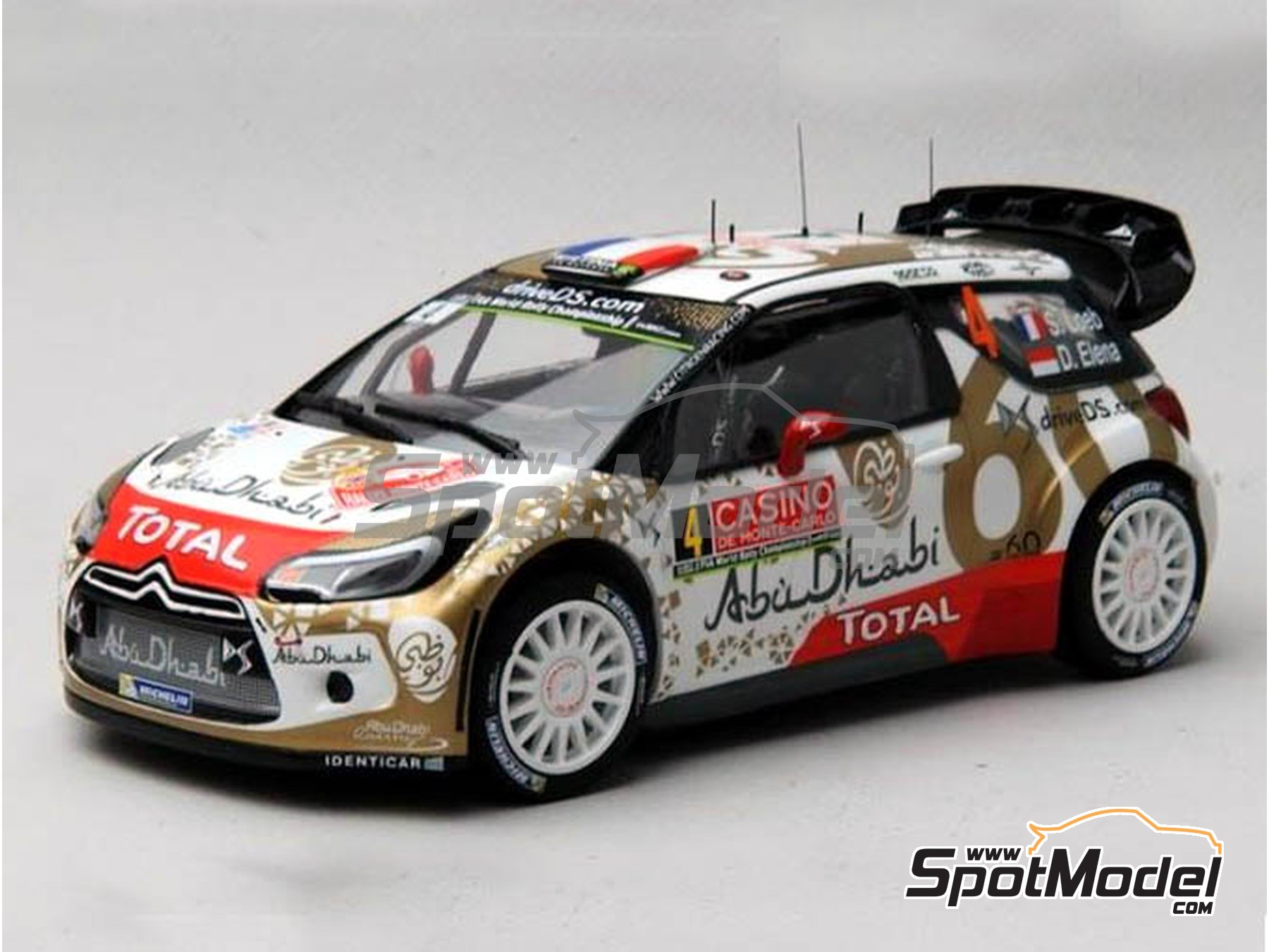 Image 15: Citroen DS3 WRC AbuDhabi - Montecarlo Rally - Rallye Automobile de Monte-Carlo 2015 | Marking / livery in 1/24 scale manufactured by Renaissance Models (ref. TK24-409)
