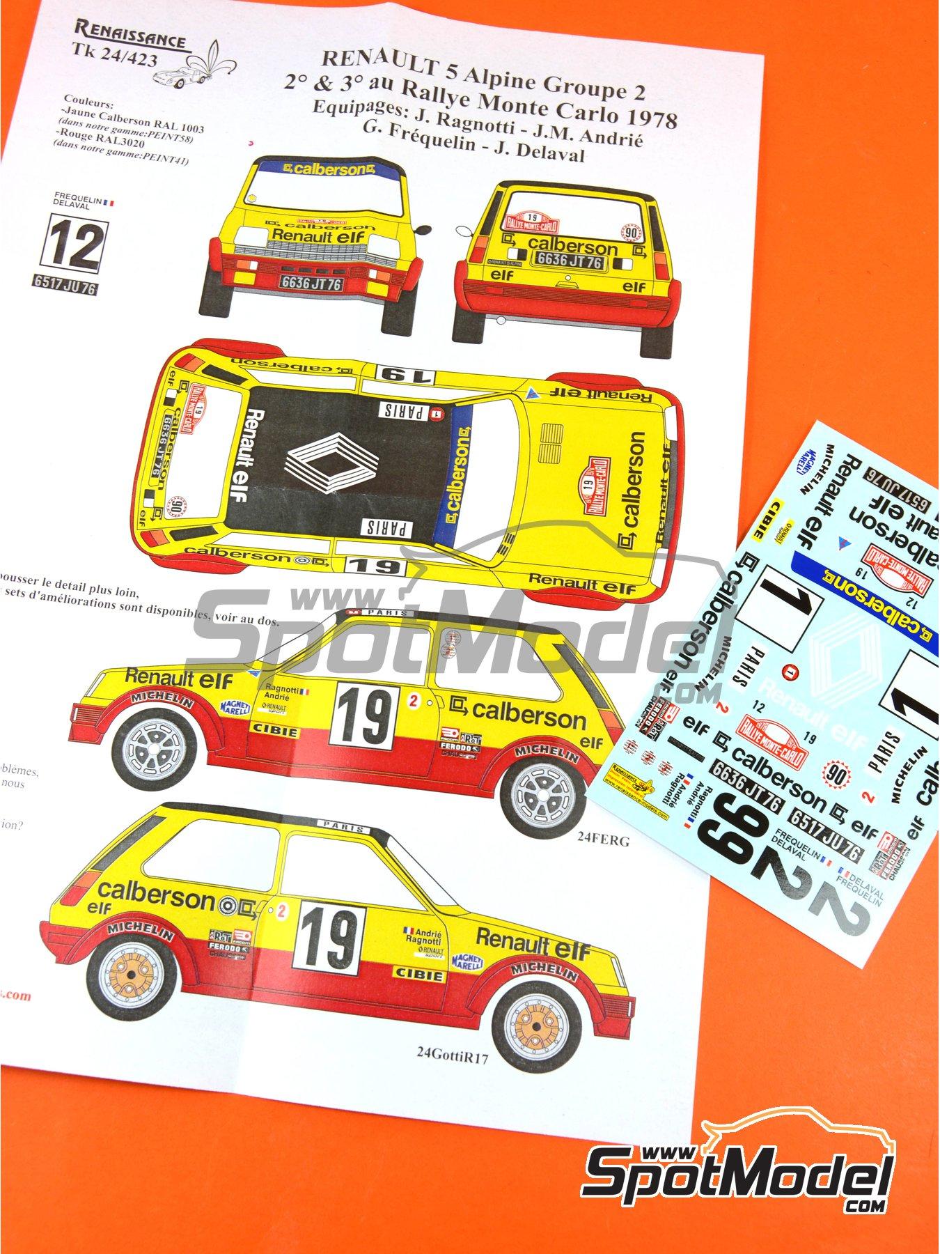 Renault R5 Group 2 Calberson - Rally de Montecarlo 1978 | Decoración en escala1/24 fabricado por Renaissance Models (ref.TK24-423) image