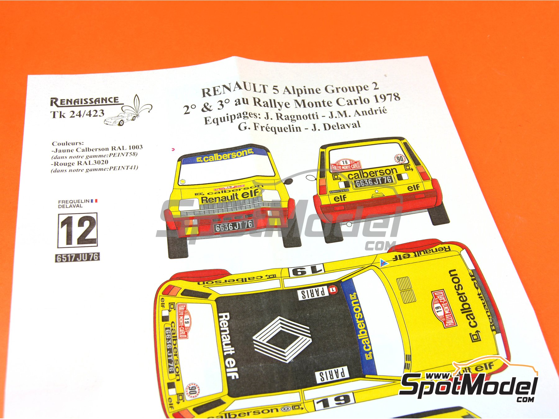 Image 3: Renault R5 Grupo 2 Calberson - Montecarlo Rally - Rallye Automobile de Monte-Carlo 1978 | Marking / livery in 1/24 scale manufactured by Renaissance Models (ref. TK24-423)