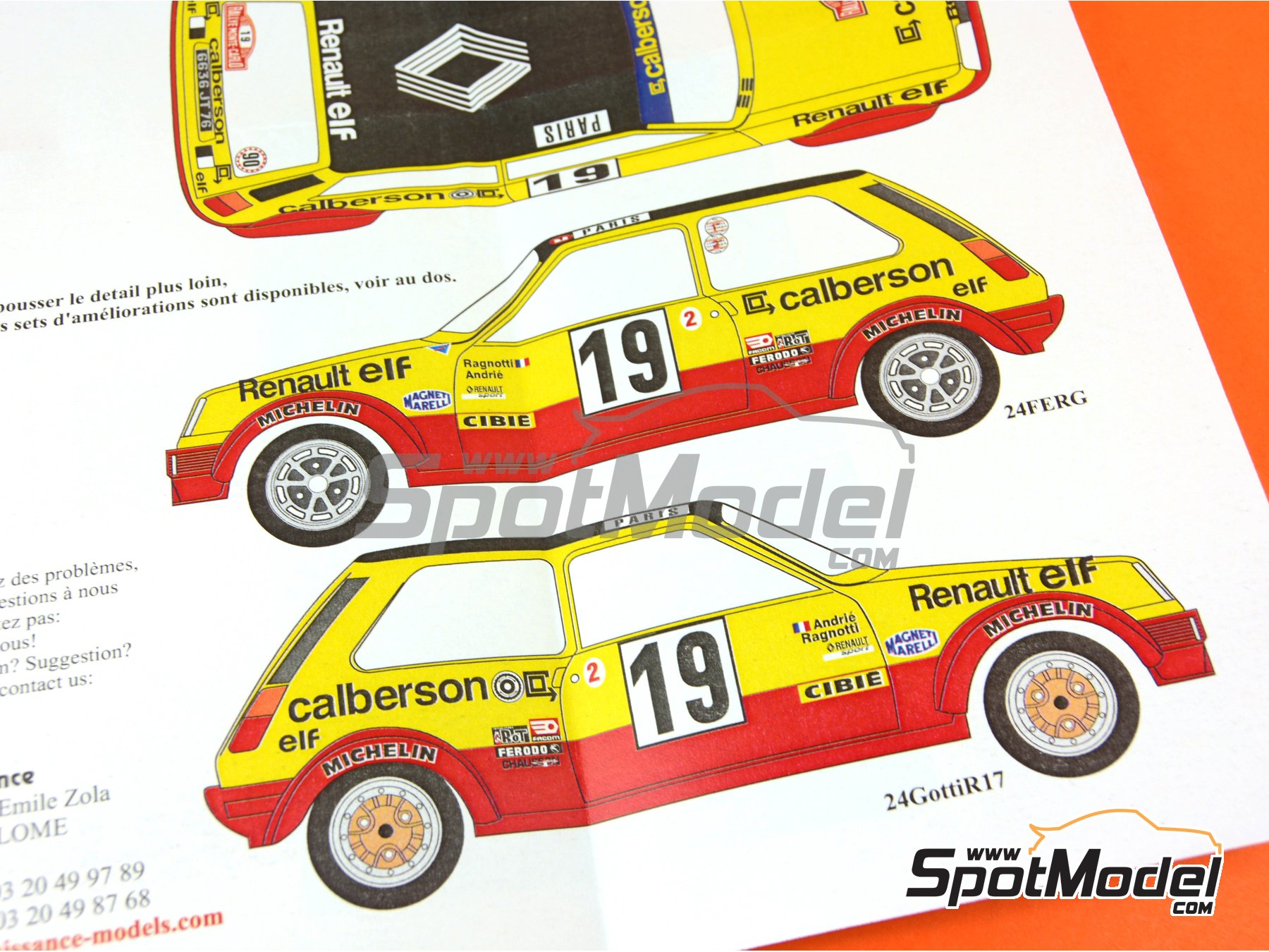 Image 4: Renault R5 Grupo 2 Calberson - Montecarlo Rally - Rallye Automobile de Monte-Carlo 1978 | Marking / livery in 1/24 scale manufactured by Renaissance Models (ref. TK24-423)