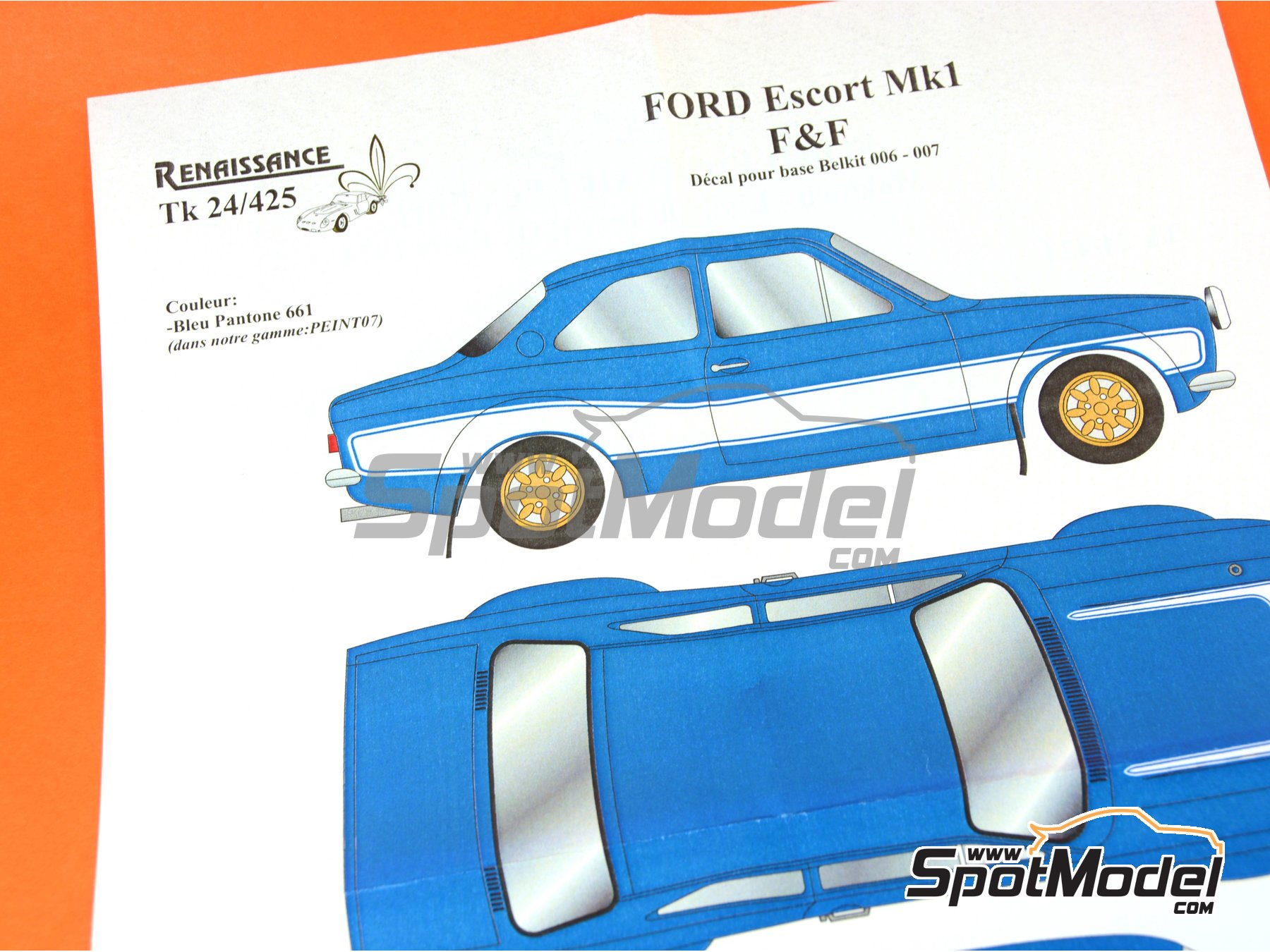Image 2: Ford Escort RS1600 Mk I Fast And Furious | Decoración en escala 1/24 fabricado por Renaissance Models (ref. TK24-425)