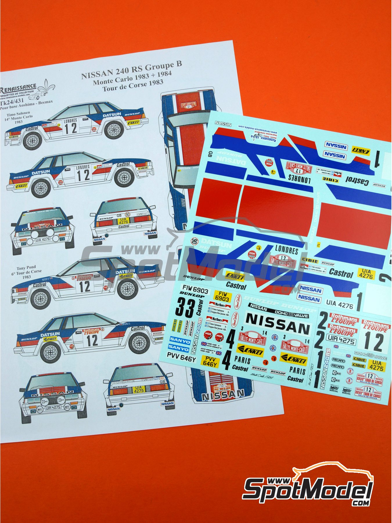 Nissan 240RS Group B - Montecarlo Rally, Tour de Corse 1983, 1984 | Marking in 1/24 scale manufactured by Renaissance Models (ref. TK24-431) image