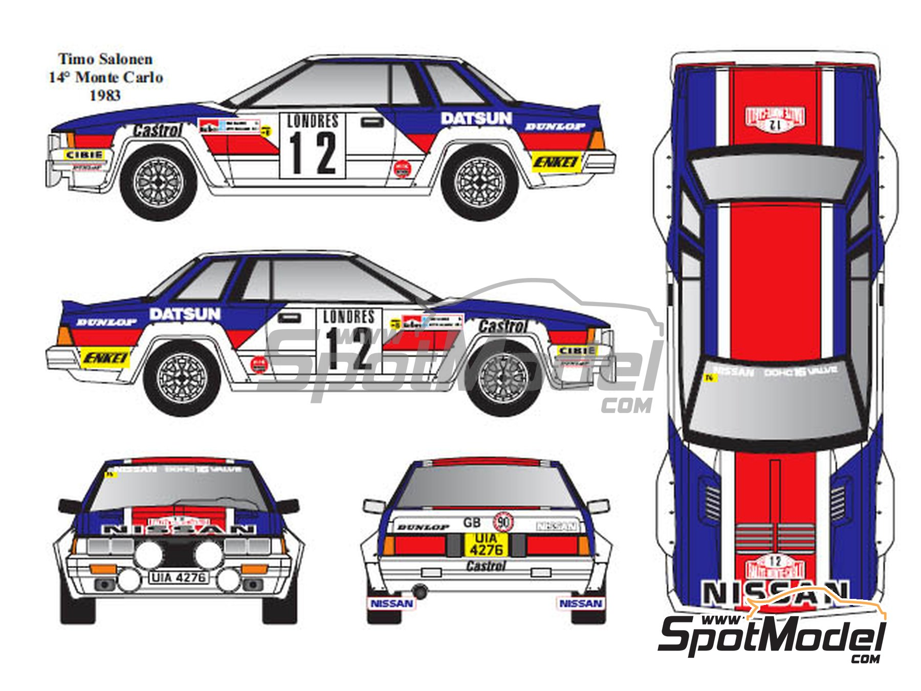 Image 1: Nissan 240RS Group B - Montecarlo Rally, Tour de Corse 1983 and 1984 | Marking / livery in 1/24 scale manufactured by Renaissance Models (ref. TK24-431)
