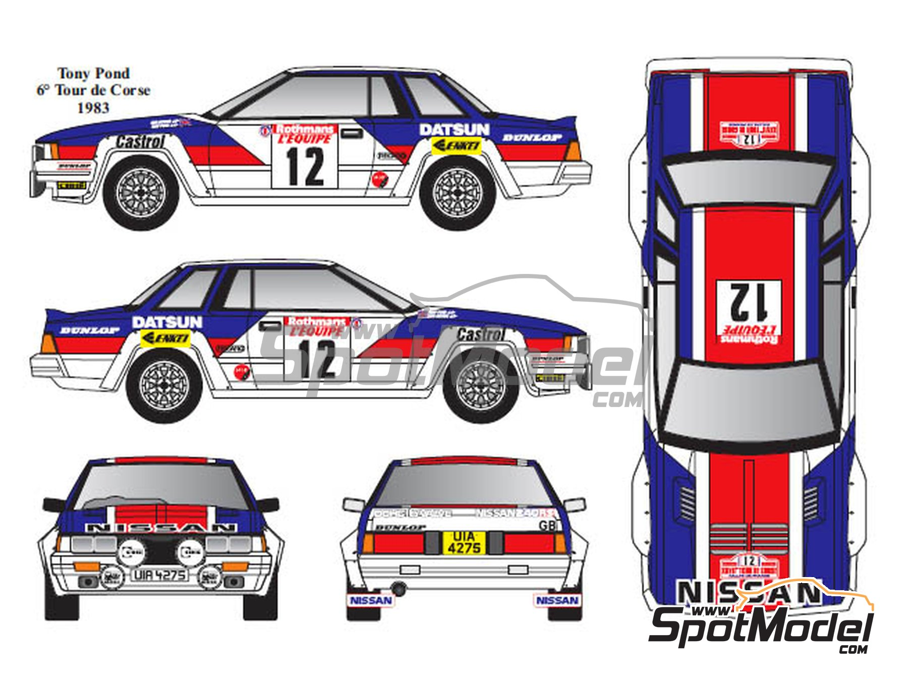 Image 2: Nissan 240RS Group B - Montecarlo Rally, Tour de Corse 1983, 1984 | Marking in 1/24 scale manufactured by Renaissance Models (ref. TK24-431)