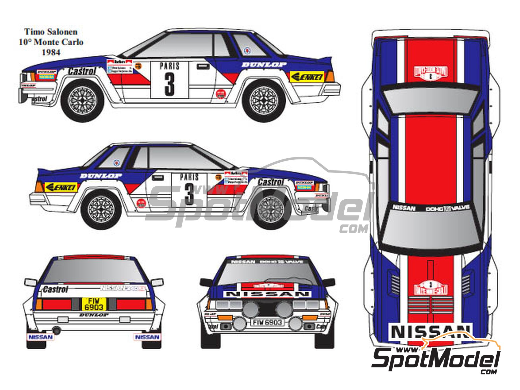 Image 3: Nissan 240RS Group B - Montecarlo Rally, Tour de Corse 1983 and 1984 | Marking / livery in 1/24 scale manufactured by Renaissance Models (ref. TK24-431)