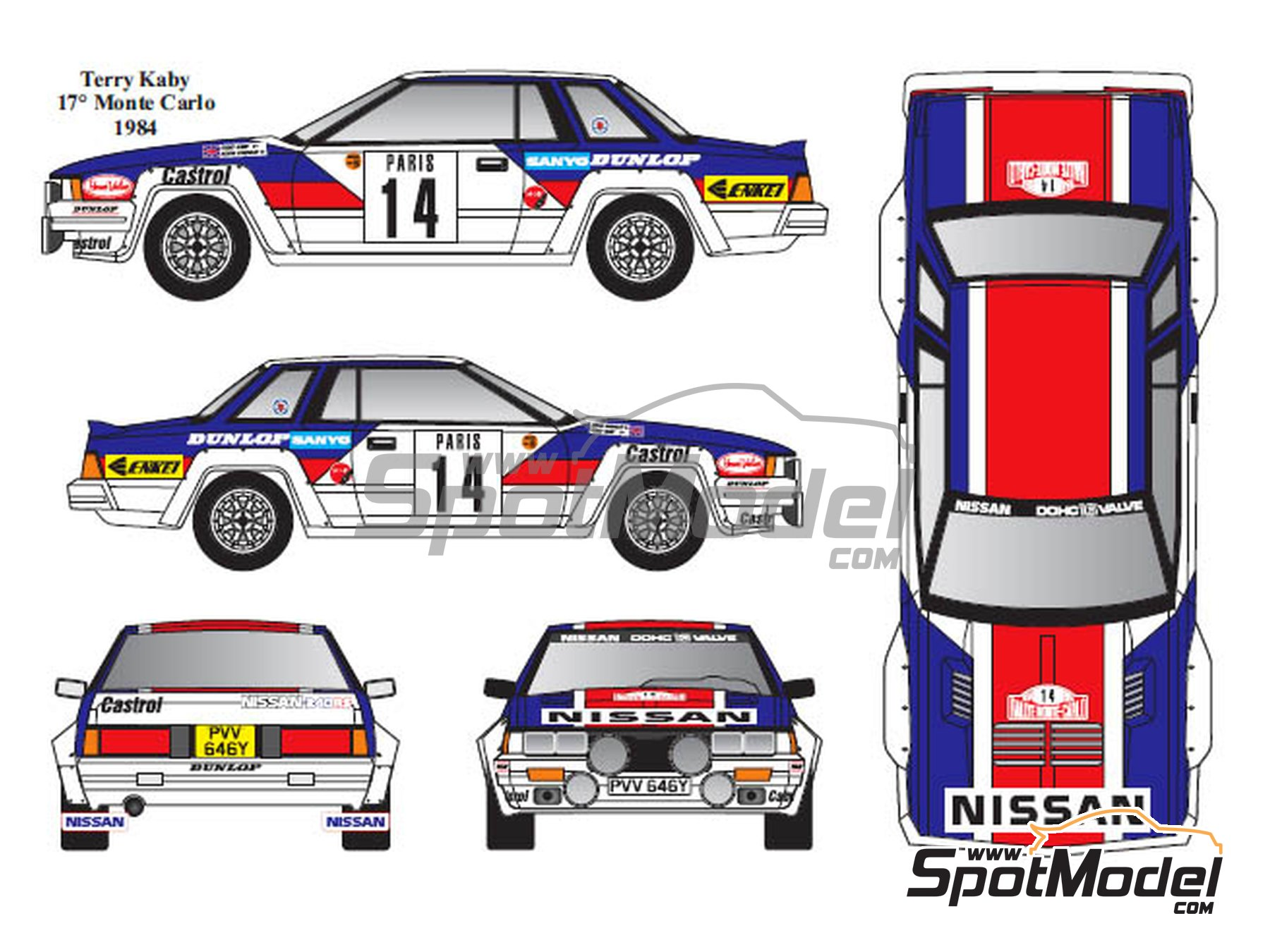 Image 4: Nissan 240RS Group B - Montecarlo Rally, Tour de Corse 1983, 1984 | Marking in 1/24 scale manufactured by Renaissance Models (ref. TK24-431)