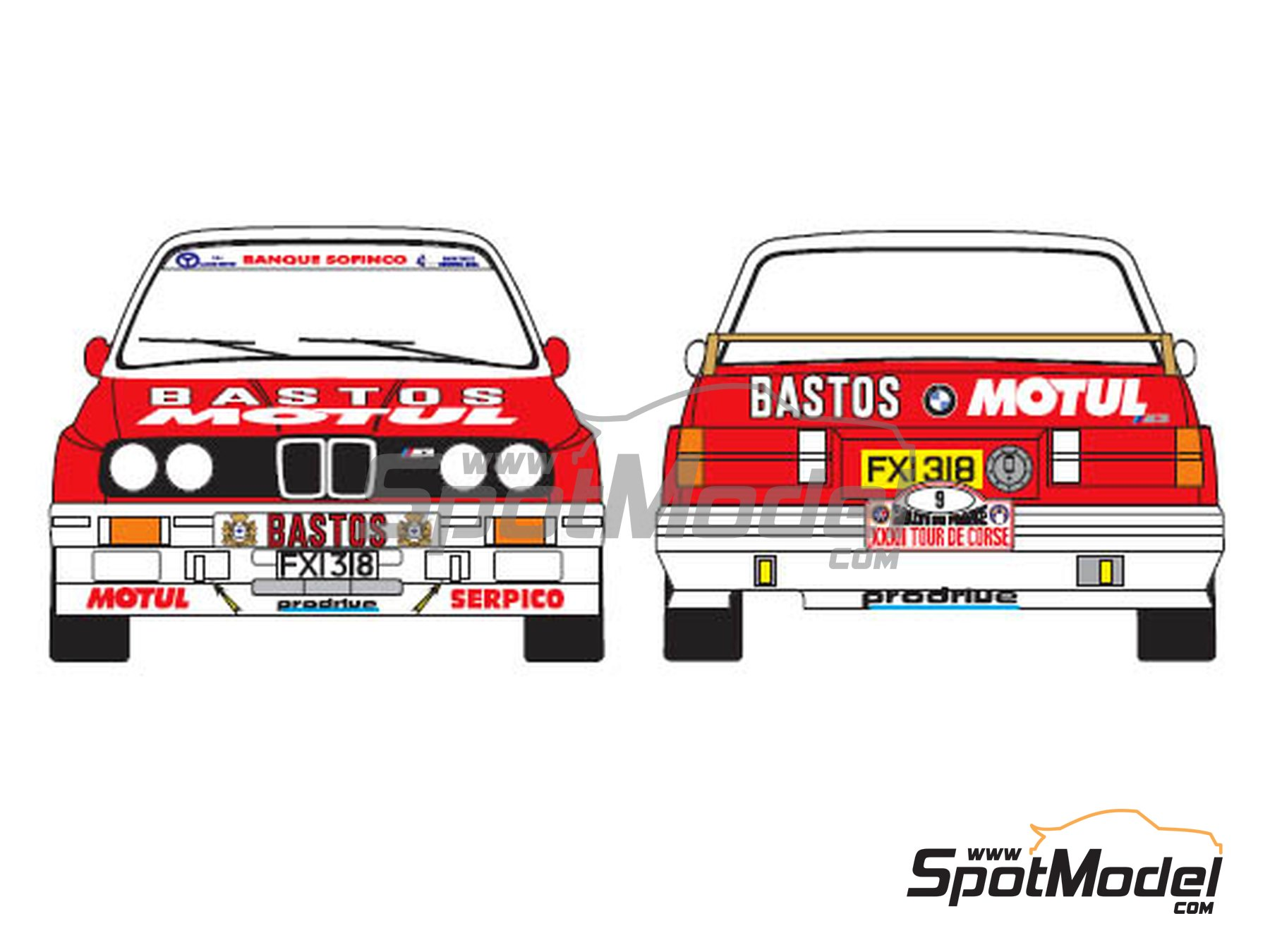 Image 1: BMW M3 E30 Bastos Motul - Tour de Corse 1988 | Marking / livery in 1/24 scale manufactured by Renaissance Models (ref. TK24-433)
