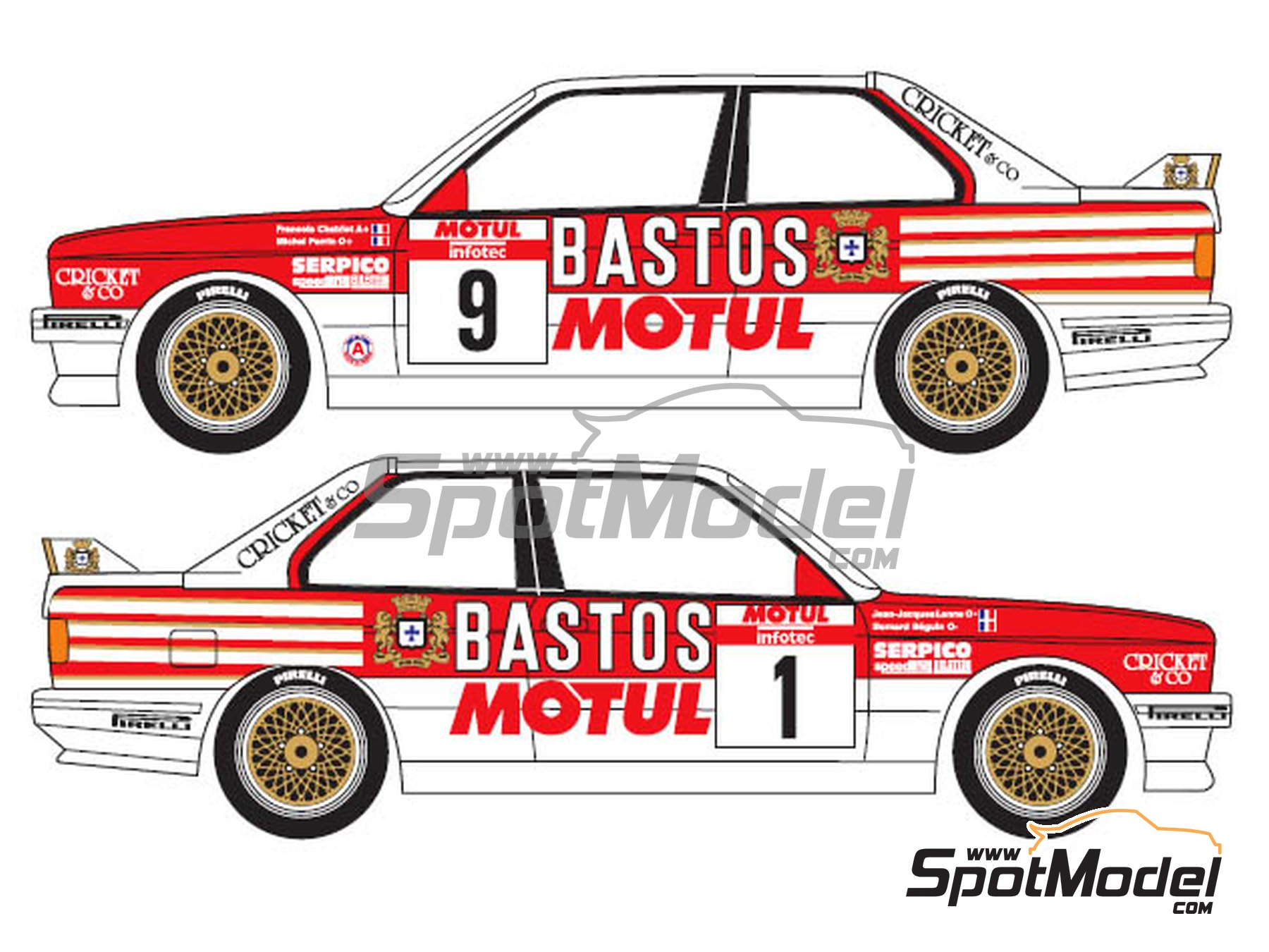 Image 3: BMW M3 E30 Bastos Motul - Tour de Corse 1988 | Marking / livery in 1/24 scale manufactured by Renaissance Models (ref. TK24-433)