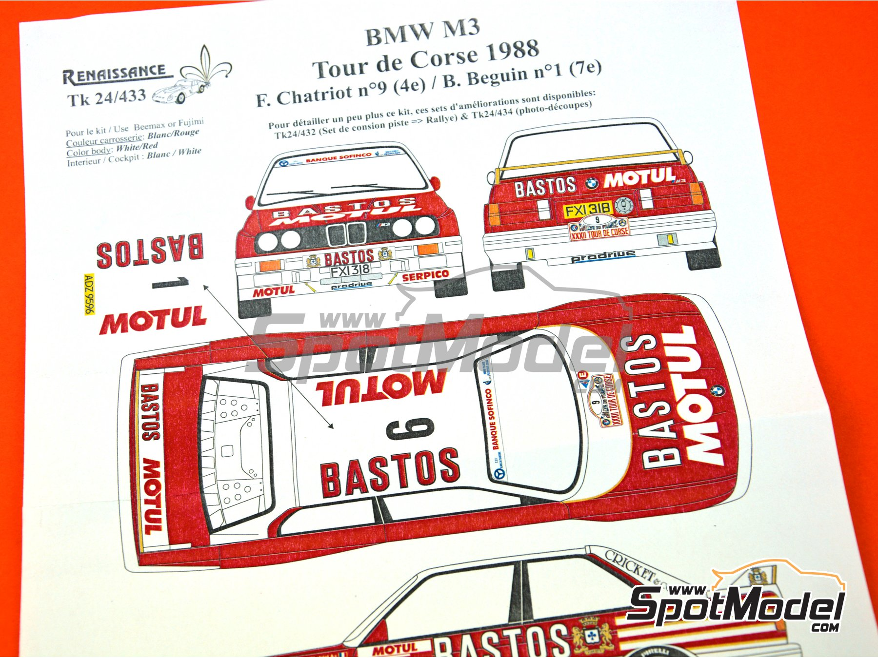 Image 7: BMW M3 E30 Bastos Motul - Tour de Corse 1988 | Marking / livery in 1/24 scale manufactured by Renaissance Models (ref. TK24-433)