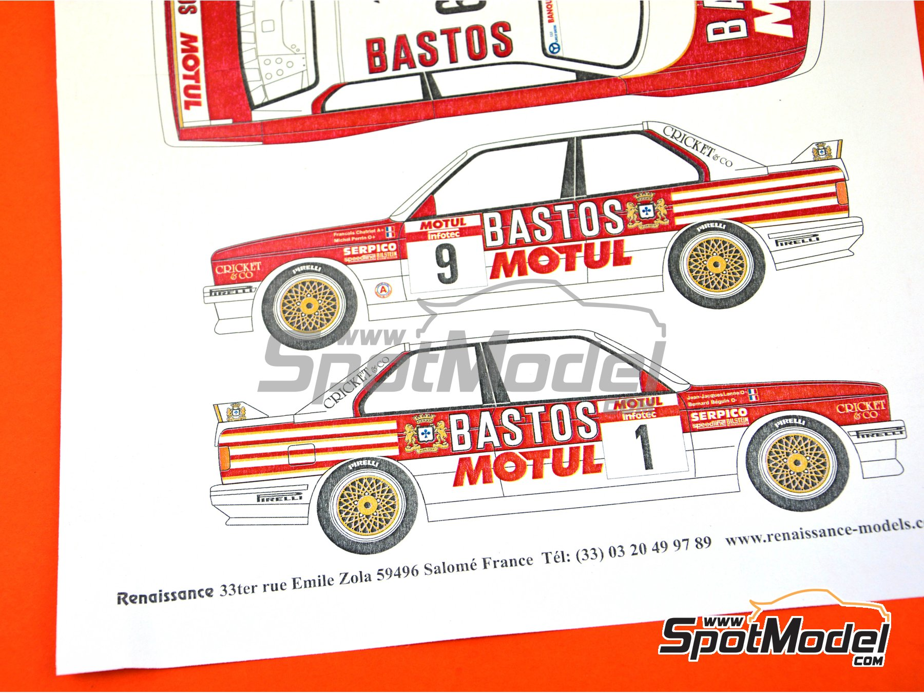 Image 8: BMW M3 E30 Bastos Motul - Tour de Corse 1988 | Marking / livery in 1/24 scale manufactured by Renaissance Models (ref. TK24-433)