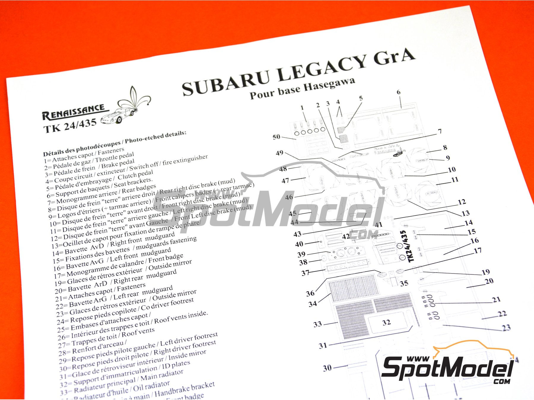 Image 5: Subaru Legacy RS Group A | Detail up set in 1/24 scale manufactured by Renaissance Models (ref. TK24-435)