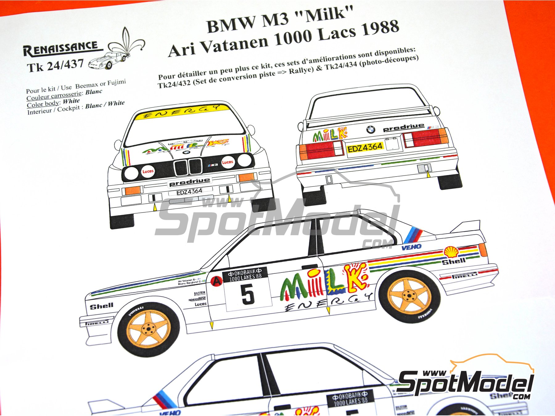 Image 3: BMW M3 E30 - 1000 Lakes Finland Rally 1988 | Marking / livery in 1/24 scale manufactured by Renaissance Models (ref. TK24-437)