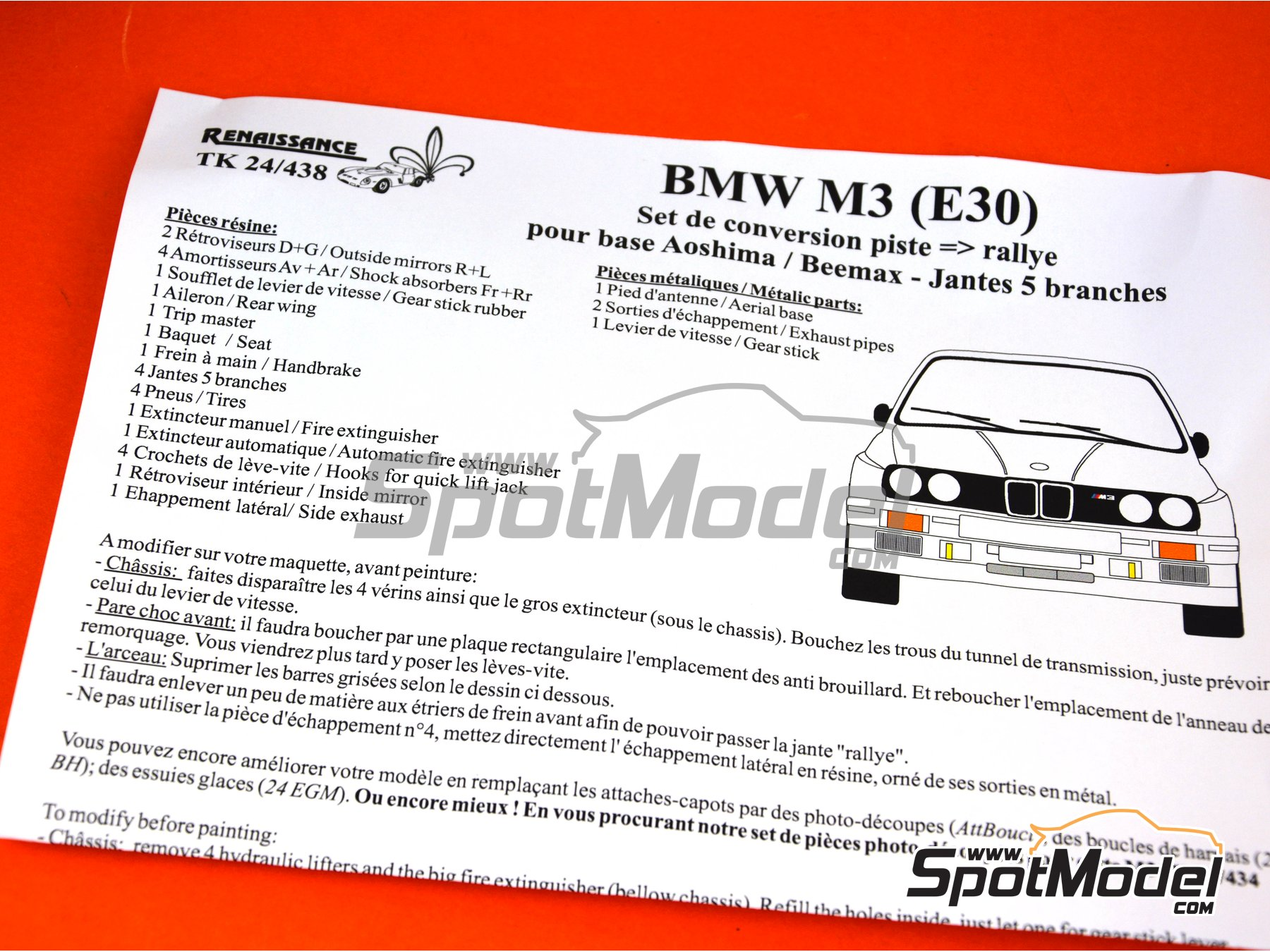 Image 1: BMW M3 E30 Group A | Transkit in 1/24 scale manufactured by Renaissance Models (ref. TK24-438)