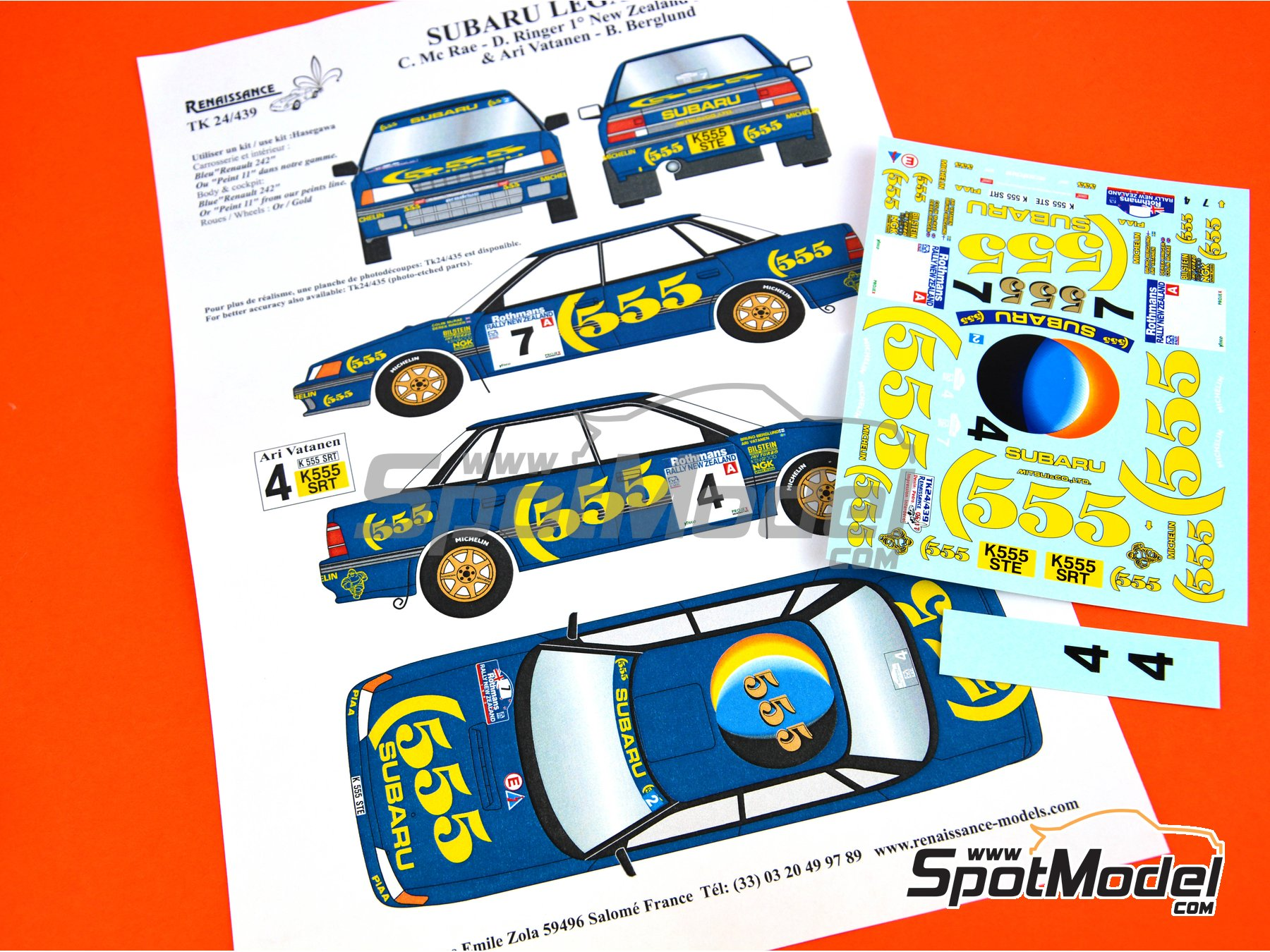 Image 1: Subaru Legacy Group A - New Zealand rally 1993 | Marking / livery in 1/24 scale manufactured by Renaissance Models (ref. TK24-439)