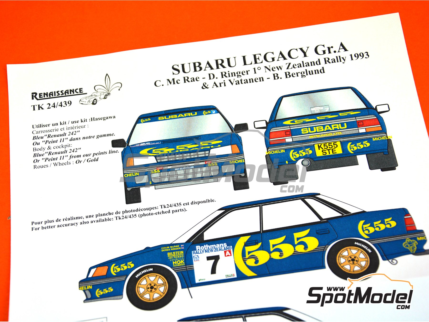 Image 5: Subaru Legacy Group A - New Zealand rally 1993 | Marking / livery in 1/24 scale manufactured by Renaissance Models (ref. TK24-439)