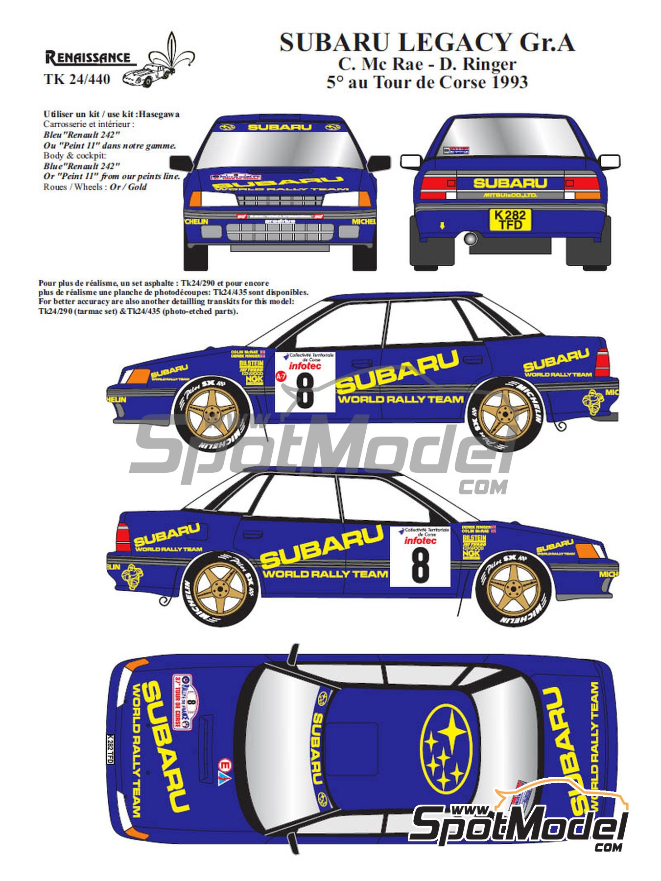 Subaru Legacy Group A - Tour de Corse 1993 | Marking / livery in 1/24 scale manufactured by Renaissance Models (ref. TK24-440) image