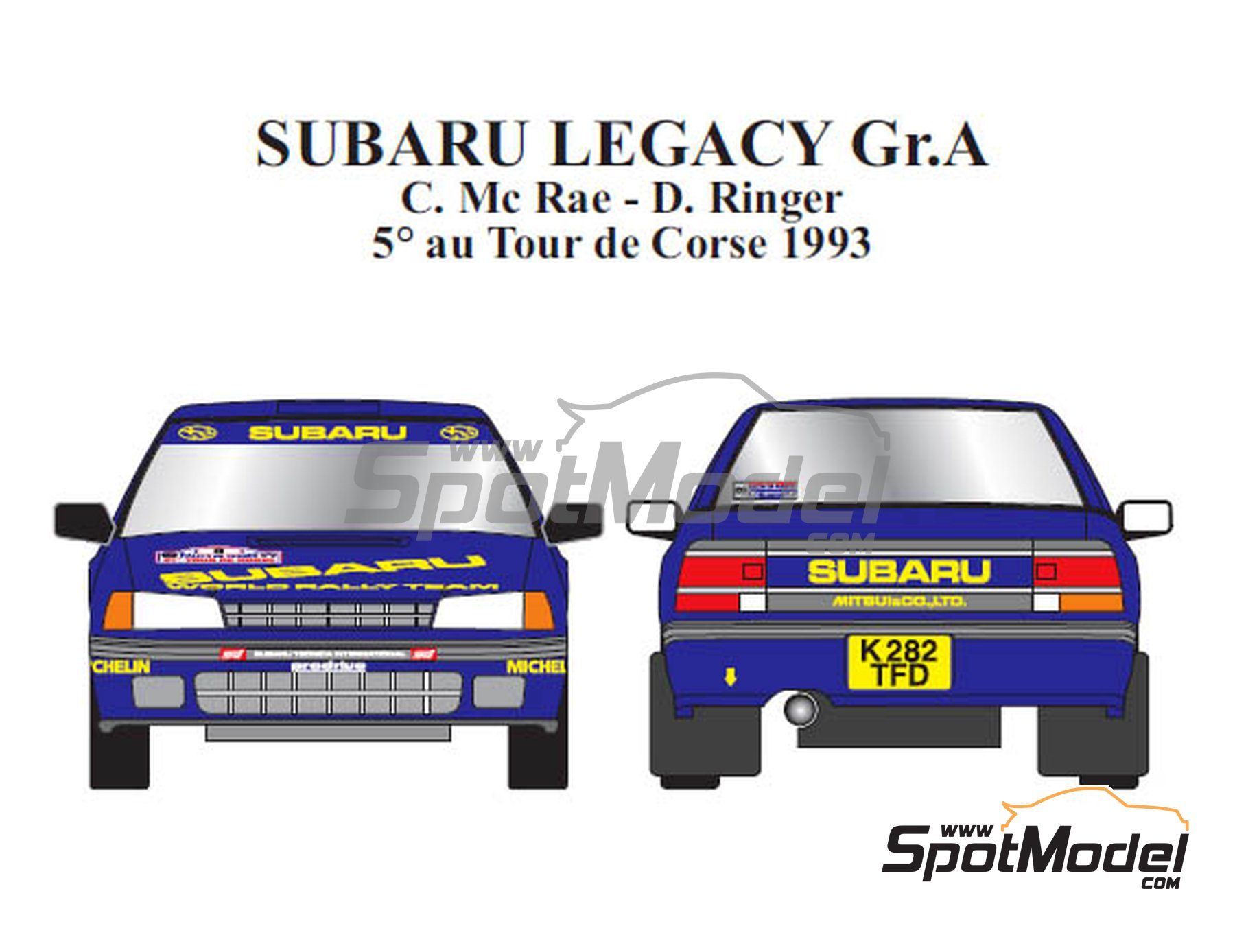 Image 1: Subaru Legacy Group A - Tour de Corse 1993 | Marking / livery in 1/24 scale manufactured by Renaissance Models (ref. TK24-440)