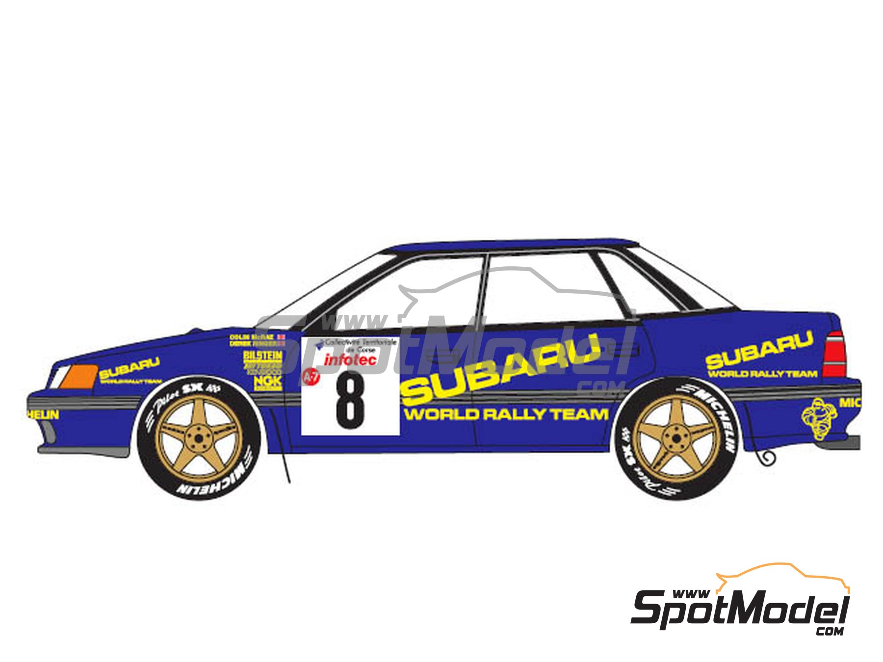 Image 2: Subaru Legacy Group A - Tour de Corse 1993 | Marking / livery in 1/24 scale manufactured by Renaissance Models (ref. TK24-440)